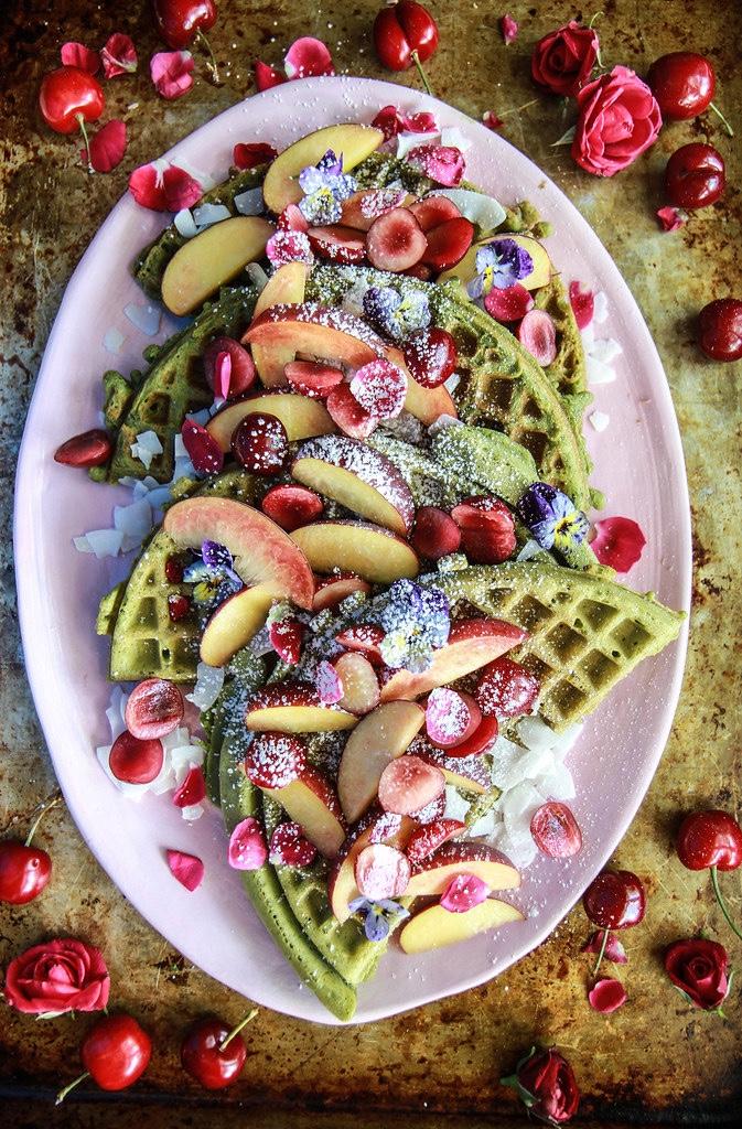 Allergen free matcha waffles