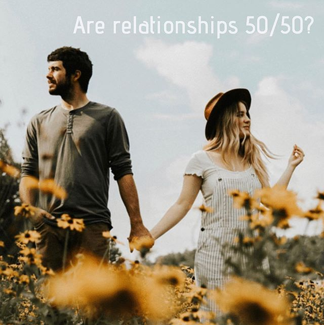 """You may have heard that for a relationship to be healthy, it needs to be a 50/50 partnership. I agree in theory—healthy relationships are typically built on equality and shared responsibility.   However, relationships are not always an equal 50/50 100% of the time. I would even go as far to say that most of the time the percentages are not even...and that's okay! Life invites partners to shift and adapt though the ebbs and flows of life.   Maybe sometimes it's 60/40, or even 20/80, ect. People get chronically ill, lose a loved one, experience a job loss, or struggle through mental health issues, ect.  When you or your partner are struggling—it's challenging and sometimes impossible to bring your 50% to the table.  In my opinion, what's more important to focus on is showing up in your relationship to the best of your ability...whatever that looks like! If your partner is struggling, they may not be able to meet you half way. In those times, you may need to put in the extra work, and vice versa.   When each partner has the intention to give as much as they can, and puts fourth as much effort as they are capable of, it communicates the essence of equality that healthy partnerships need to thrive. In my opinion, it's less about meeting half way, and more about doing and giving as much as you can in the moment.   It's helpful to stay cautious of getting caught up in keeping score...things are seldom perfectly equal and fair in relationships. You may find comfort and freedom in knowing that some seasons of life invite you to put a little more than your """"fair share"""" into your relationship, and other seasons of life will invite your partner to take the lead and put in more than their """"half"""". This is normal, this is life!   As long as each partner is contributing as much as they can, maybe it doesn't matter what percentage that ends up being compared to the other partner.  I would love to hear your thoughts 💭   Photo: @thistle.woodphoto"""