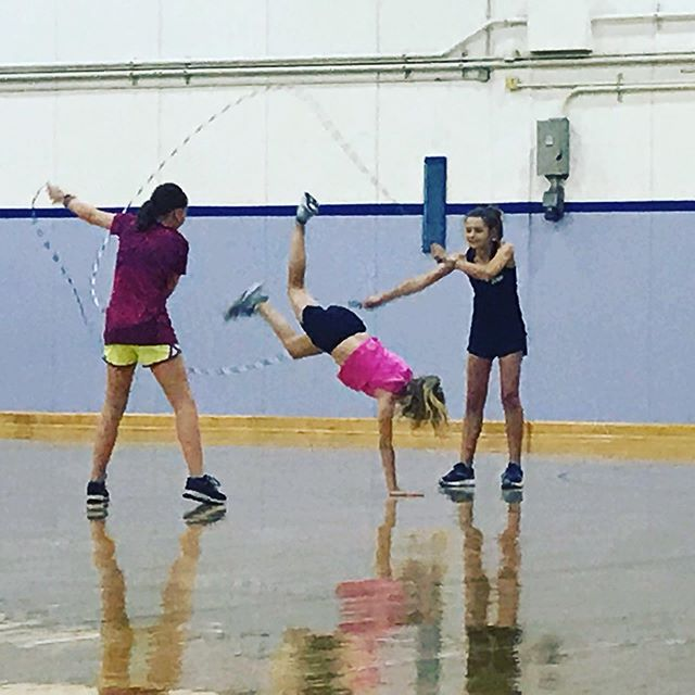 A good practice...despite parents taking over coaching for a day. #skipsations #20thanniversary #havefun #jumprope