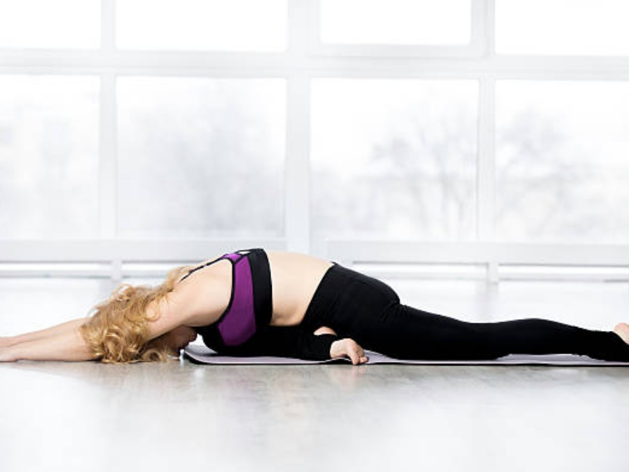 half pigeon yoga pose for relaxation