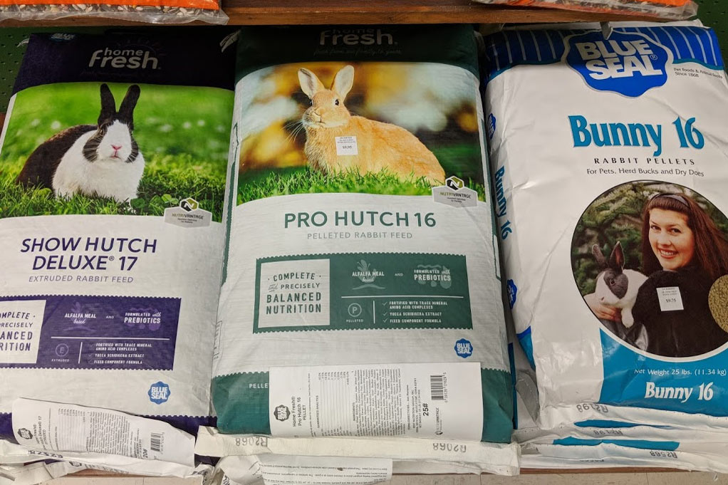Rabbit food and bedding