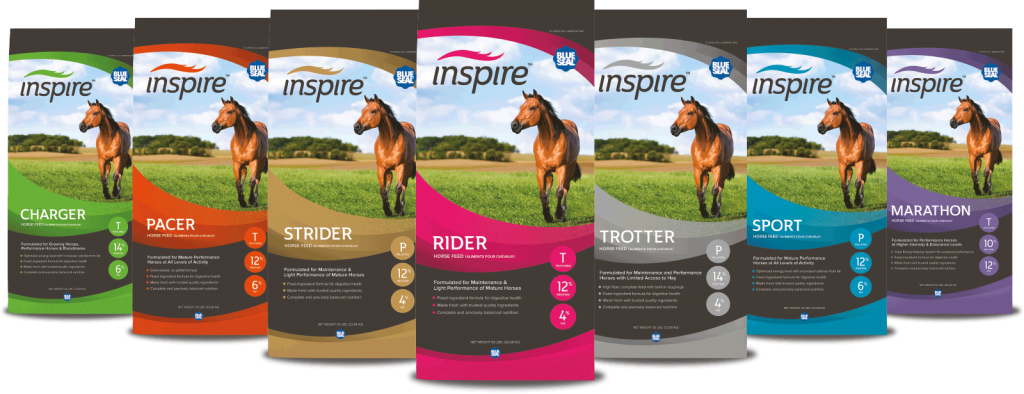 We carry Blue Seal's line of Inspire horse feeds. This line has something for every horse's need.