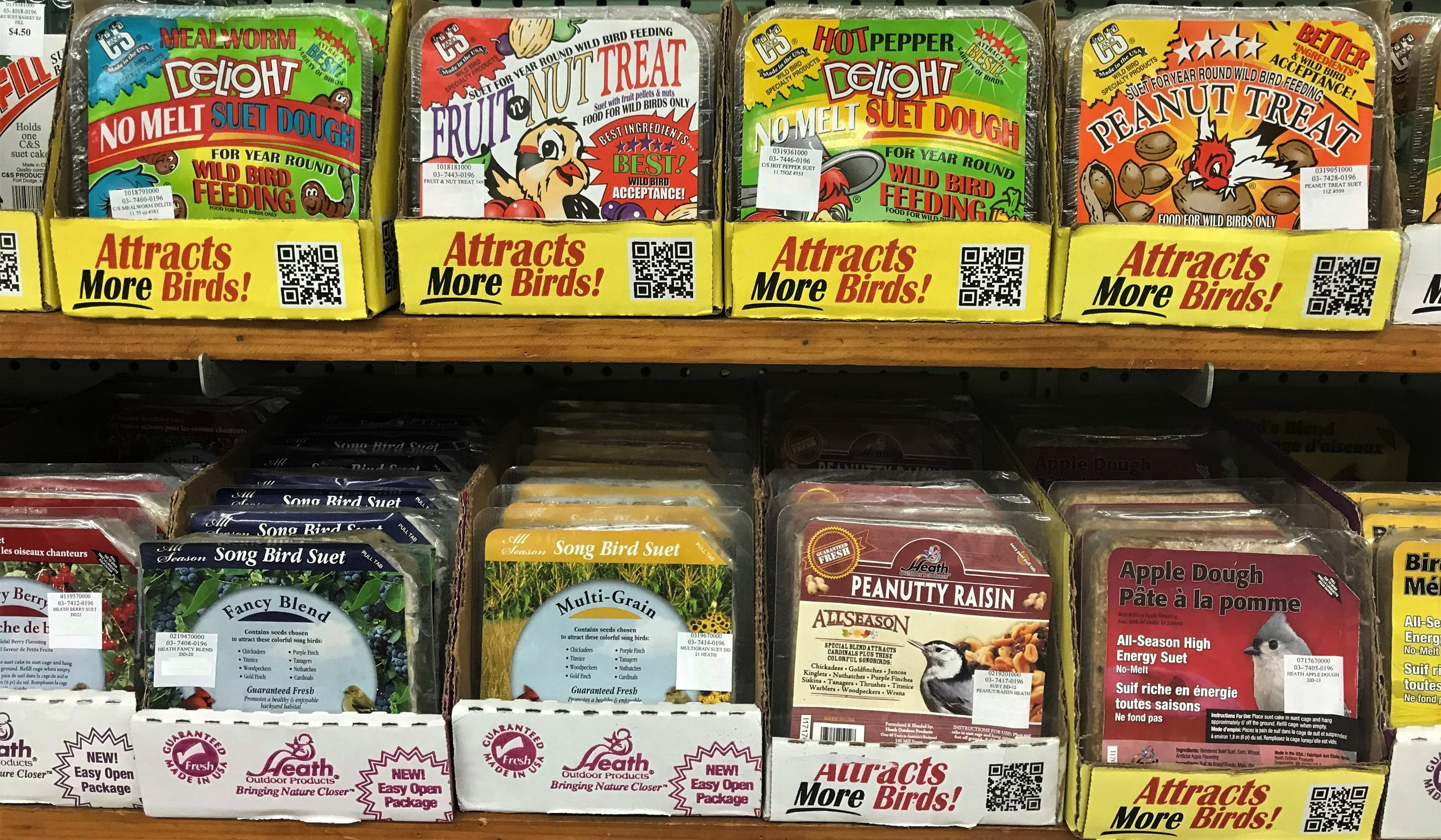 We also carry C&S suet and Pine Tree Farms Suet!