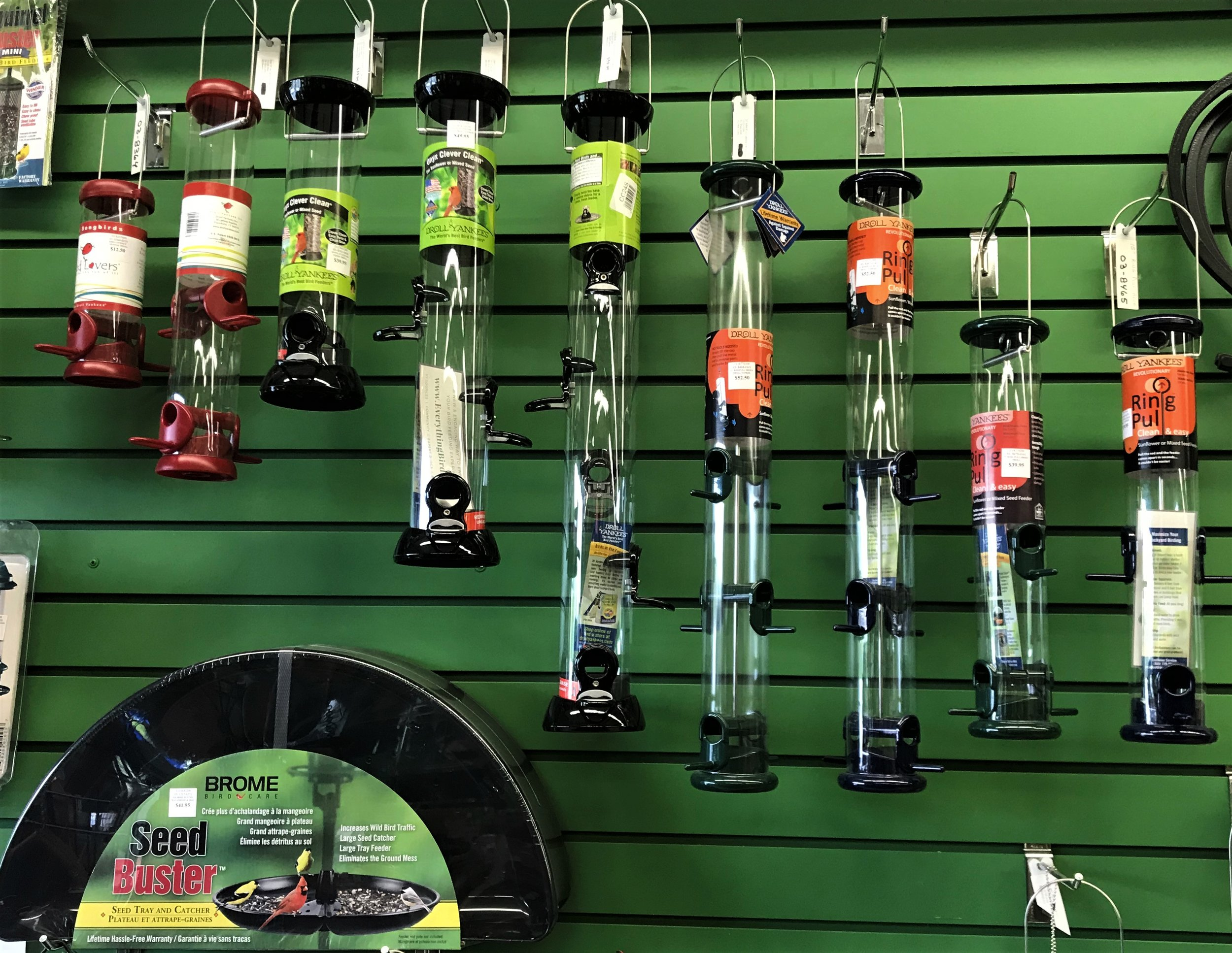 We have an impressive selection of bird feeders, including Droll Yankee!