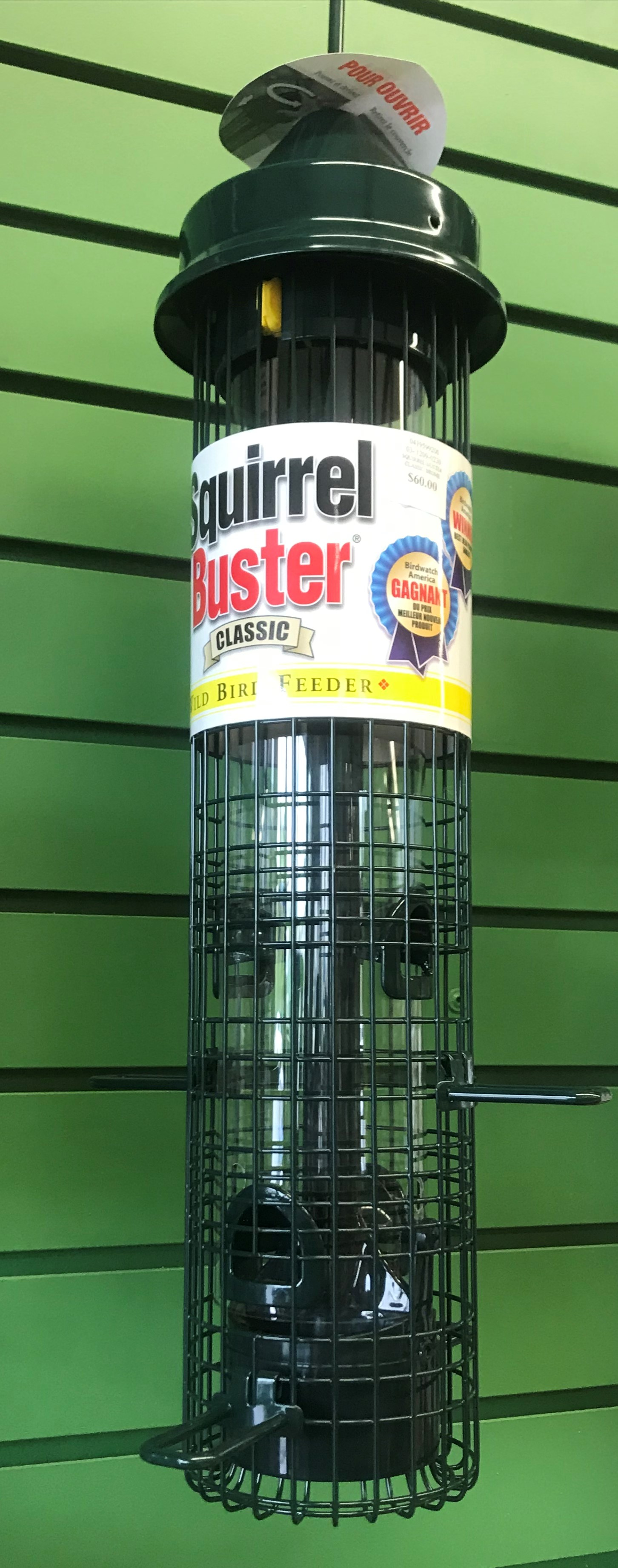 A line of Squirrel Buster feeders