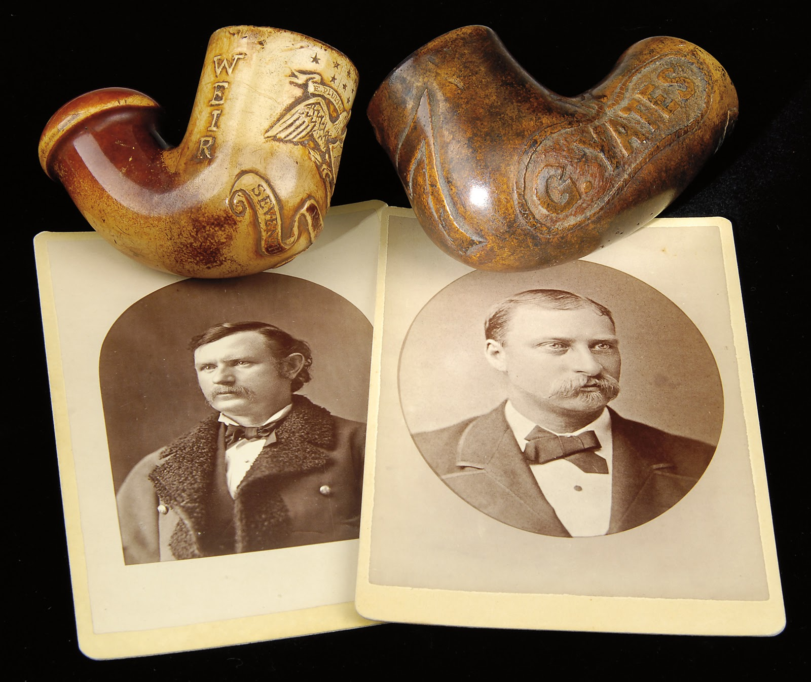 Captain Thomas Weir Carved Meerschaum Smoking Pipe Bowl and Captain  George Yates Carved Clay Smoking Pipe Bowl
