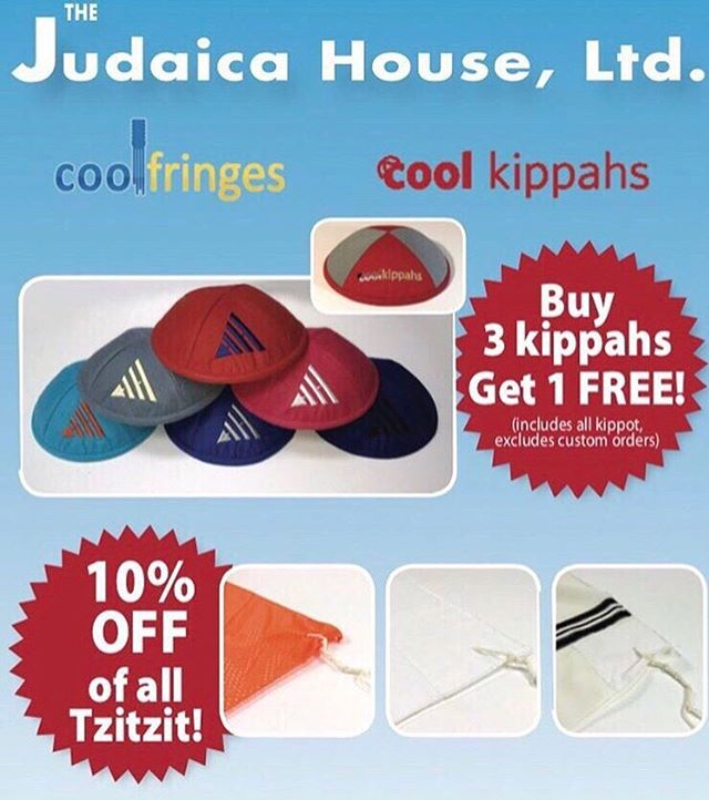 It,s Back to School Time and you know what that means!!! The Judaica House Kippah and Tzitzit Sale! All Kippot #buy1get1free all Tzitzit #10%OFF! Don't miss out, sale ends Sunday September 8th! #backtoschool #coolkippahs #coolfringes