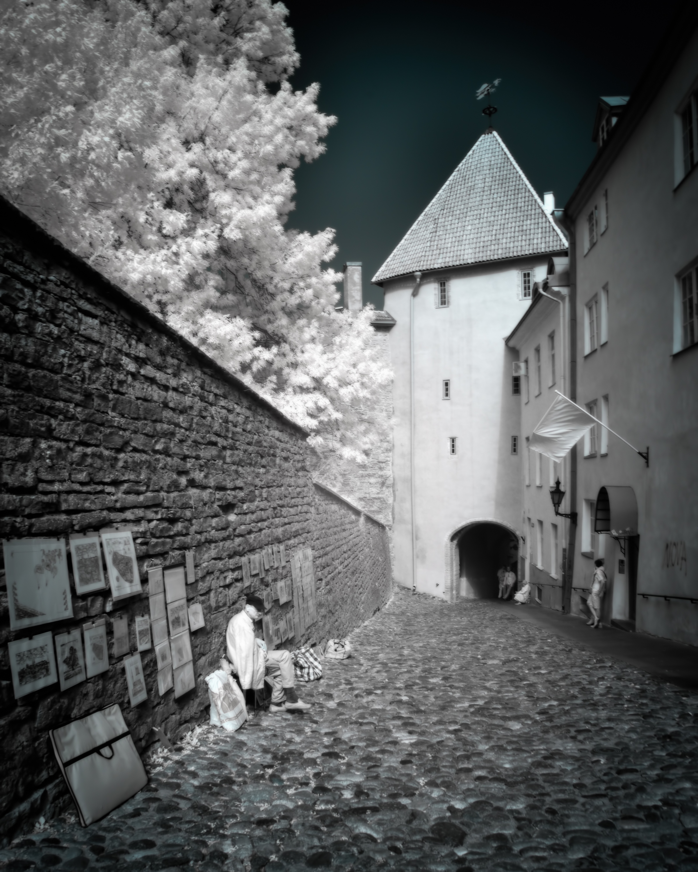 Art work for sale, a man sits with his art along a walkway in Tallinn Estoina.