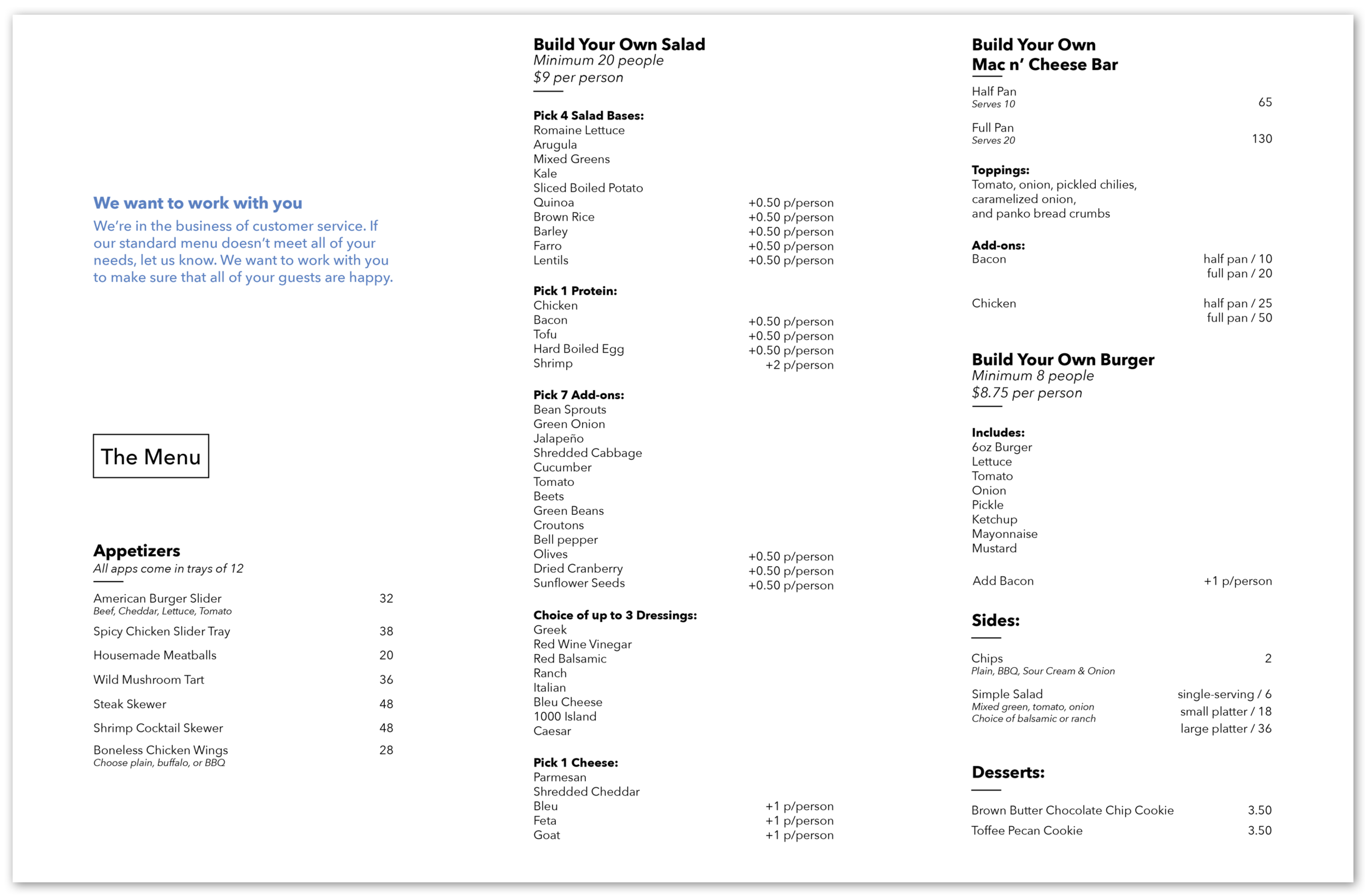 """I used the brand blue to accent the values statement on the top left and call out the content type as unique. To balance this strong visual element and bring the reader back towards the task at hand, I created a simple box around """"The Menu"""" text to call out the next step and keep the reader moving."""