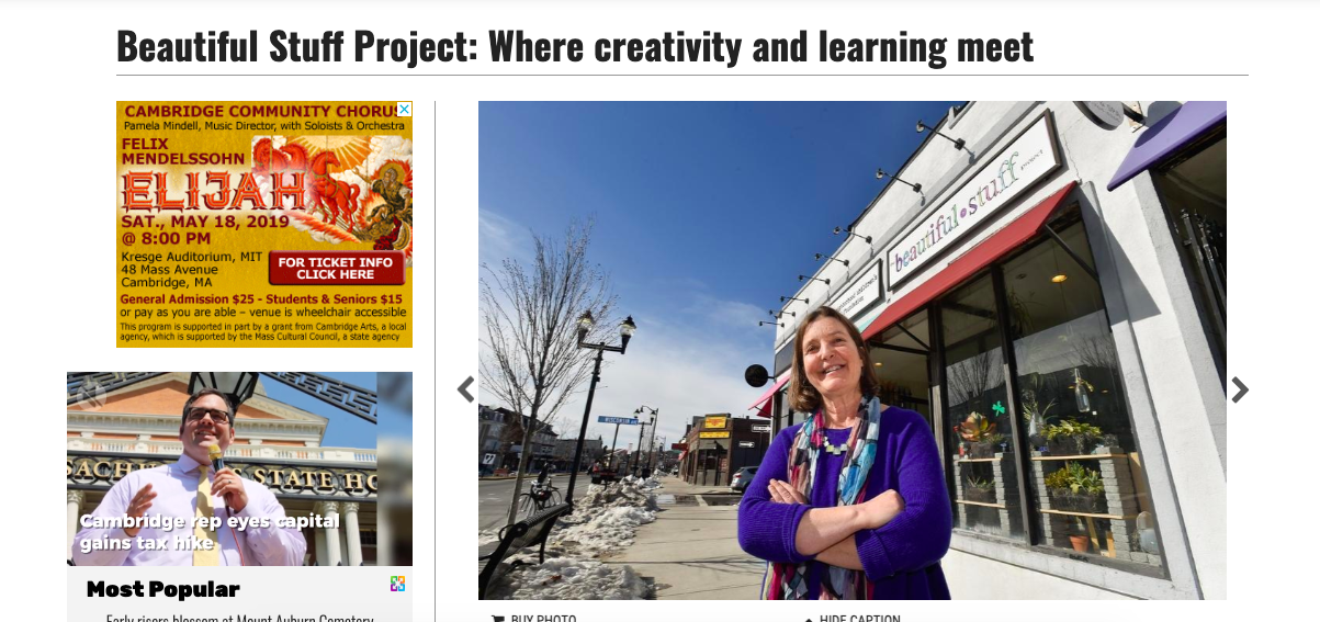 The Beautiful Stuff Project featured in our former Somerville storefront — Cambridge Wicked Local, April 2017