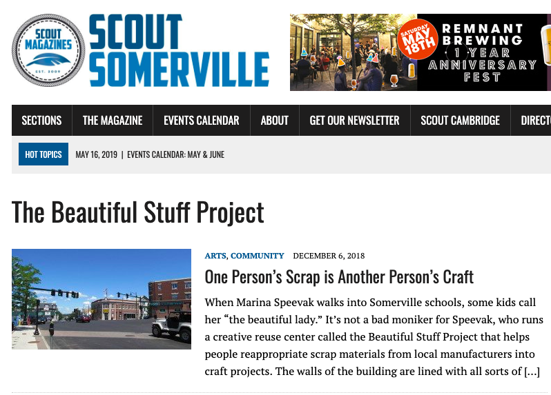 The Beautiful Stuff Project featured in Scout Somerville, December 2018