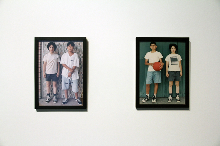 Jennifer Bornstein   Public Library and Basketball Courts  1996-1998 C-type photographs, Wall and bench construction 16mm film, projectionist