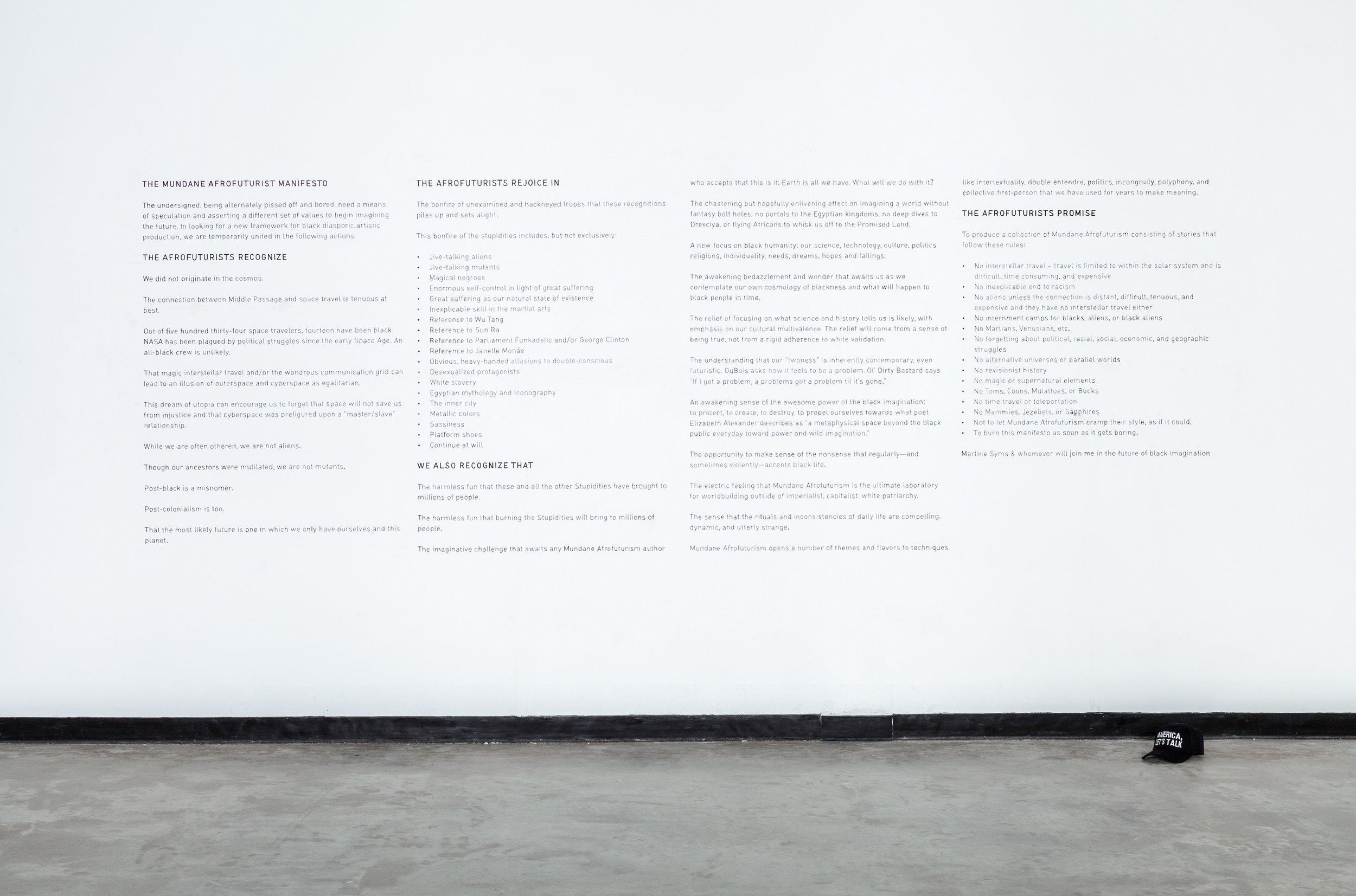 Martine Syms   The Mundane Afrofuturist Manifesto  2007-2015 Paint on wall Dimensions Variable