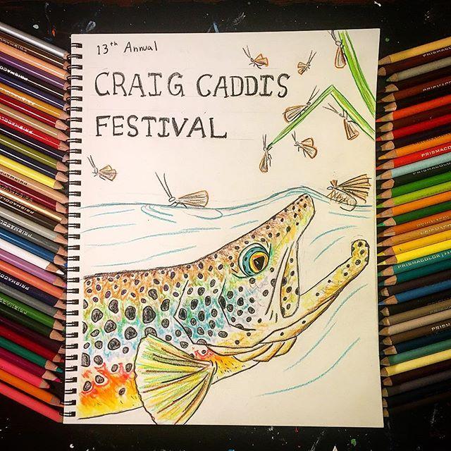 Hashin' out my idea for the 2019 Craig Caddis Festival poster art. #dryfly #flyfishing #flyfishingart #missouririver #craiglandia @headhuntersfly #caddisfly