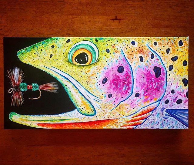 """""""Wulff Cutty"""" 10x20 Acrylic on canvas. #flyfishingart #cutthroattrout #royalwulff #dryordie #smallstream #montanabackcountry #bozemanart"""