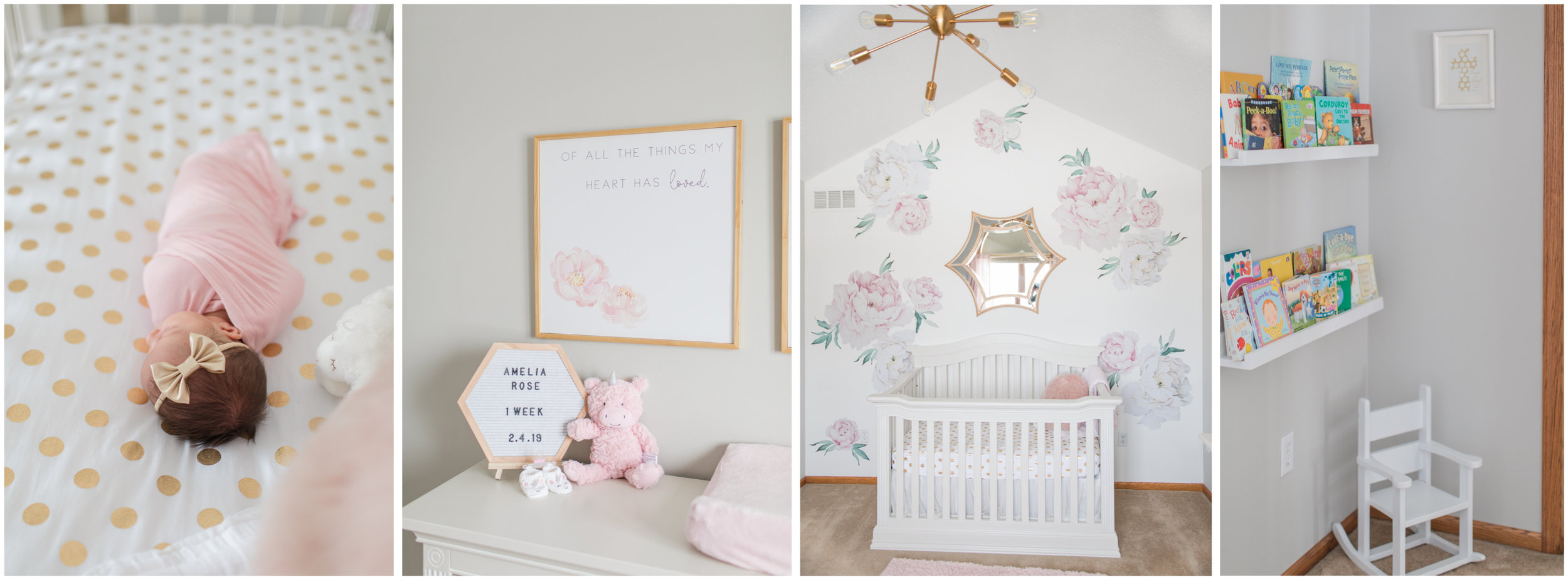 Light and Airy Vintage Pink White and Gold Baby Girl Nursery