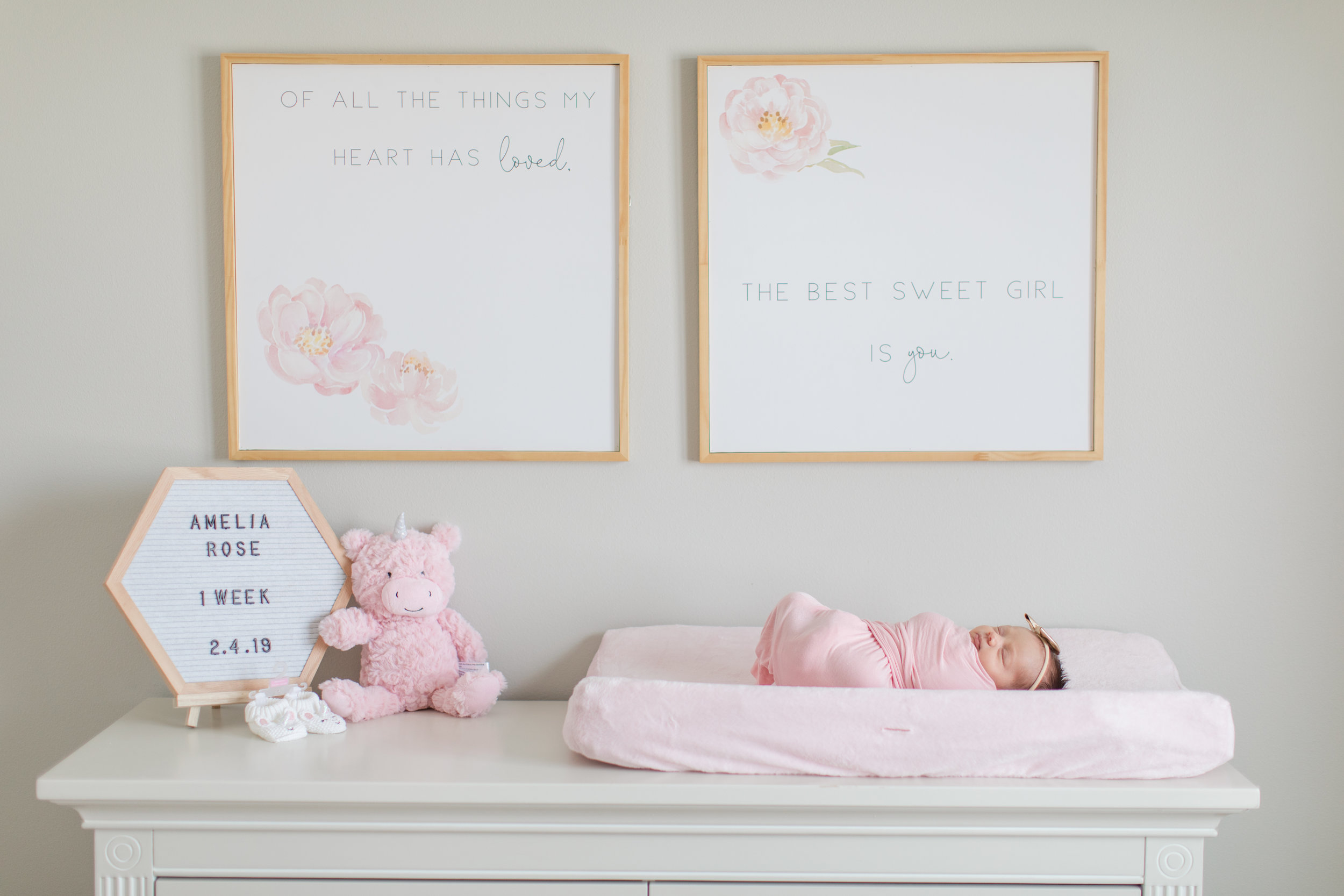 Newborn Baby Girl in her Pink Gold and Gray Nursery