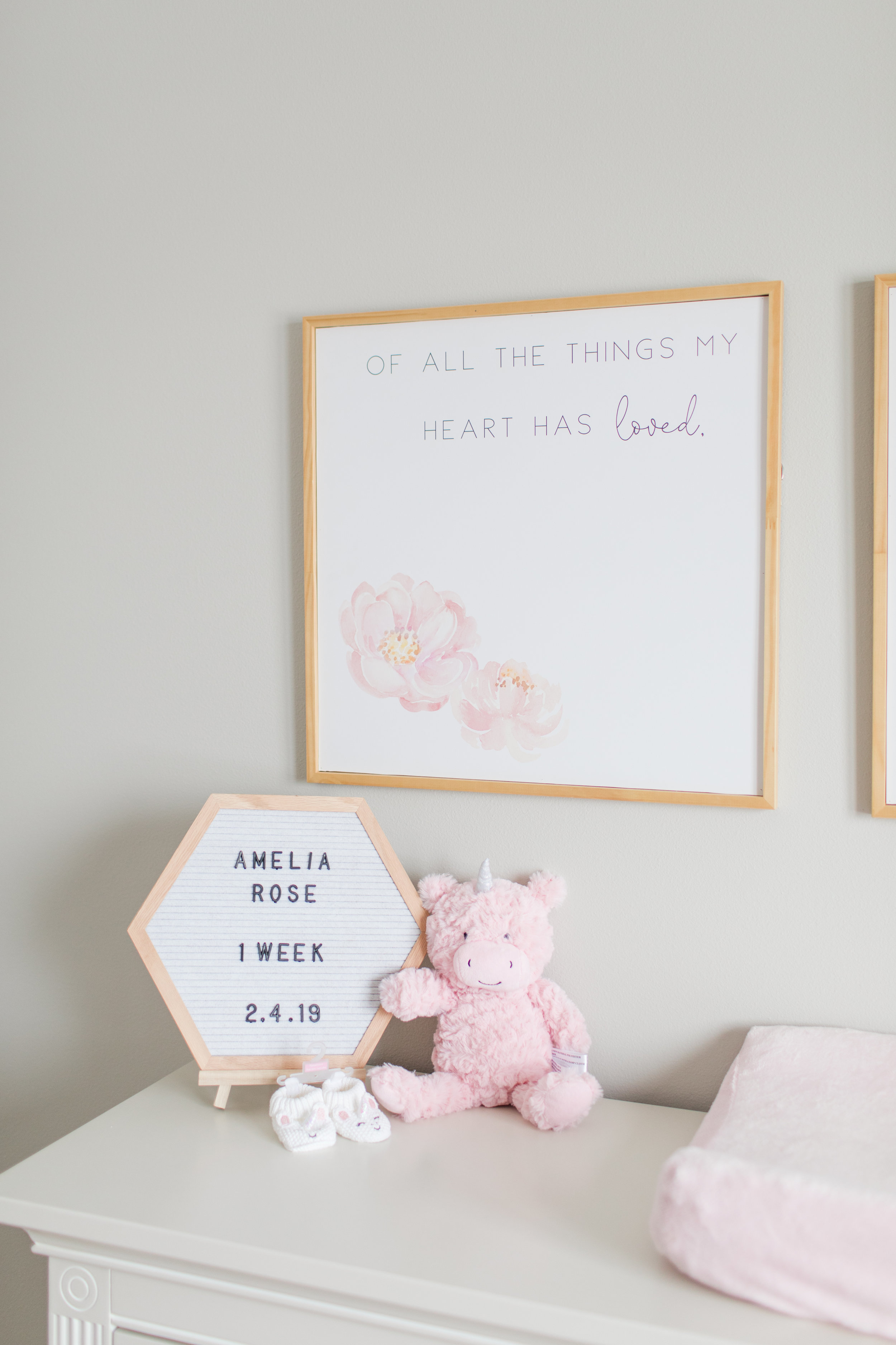 Natural wood Sign in baby girls nursery