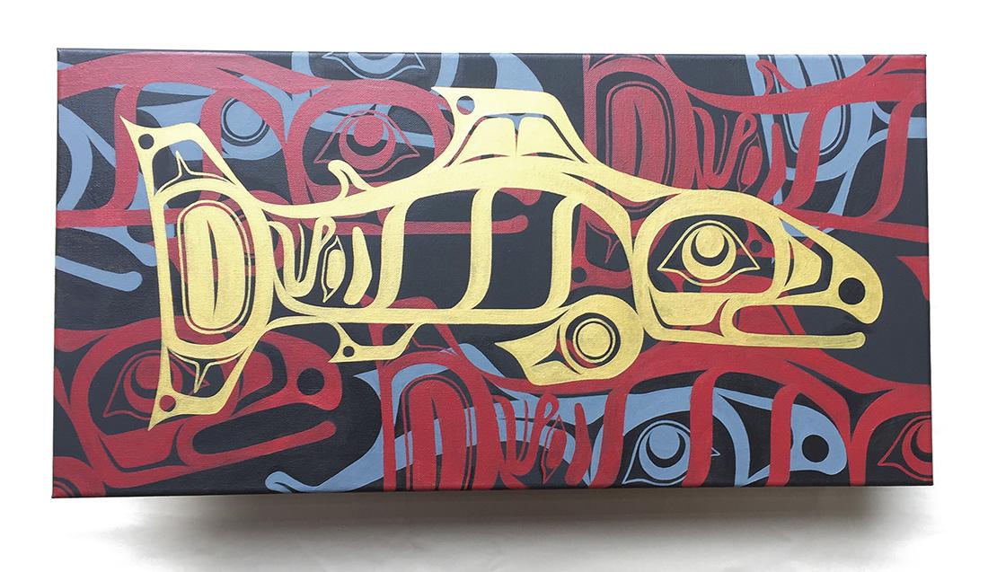"""Salmon Run"" / Acrylic on Canvas"