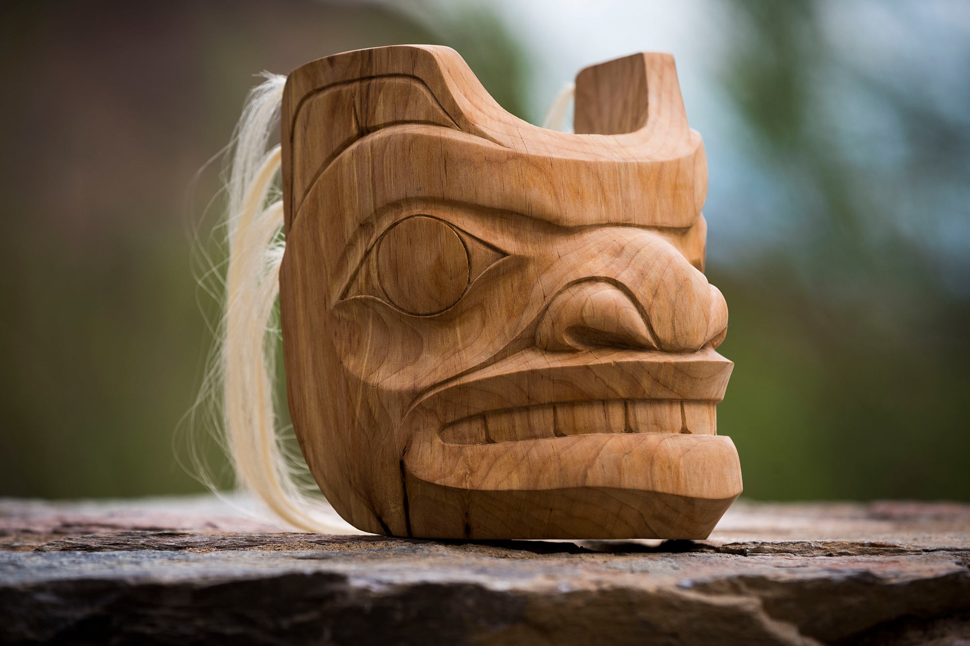 """Spirit Bear"" Mask / Alder, Human Hair"