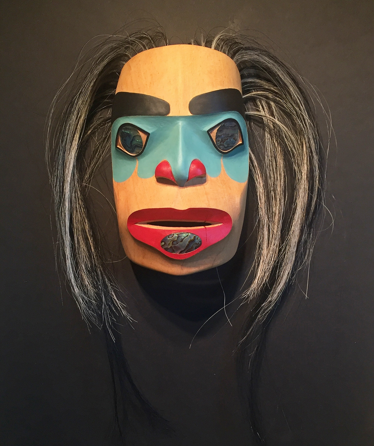 """""""Woman Becoming"""" / Red Cedar, Abalone, Horse Hair"""