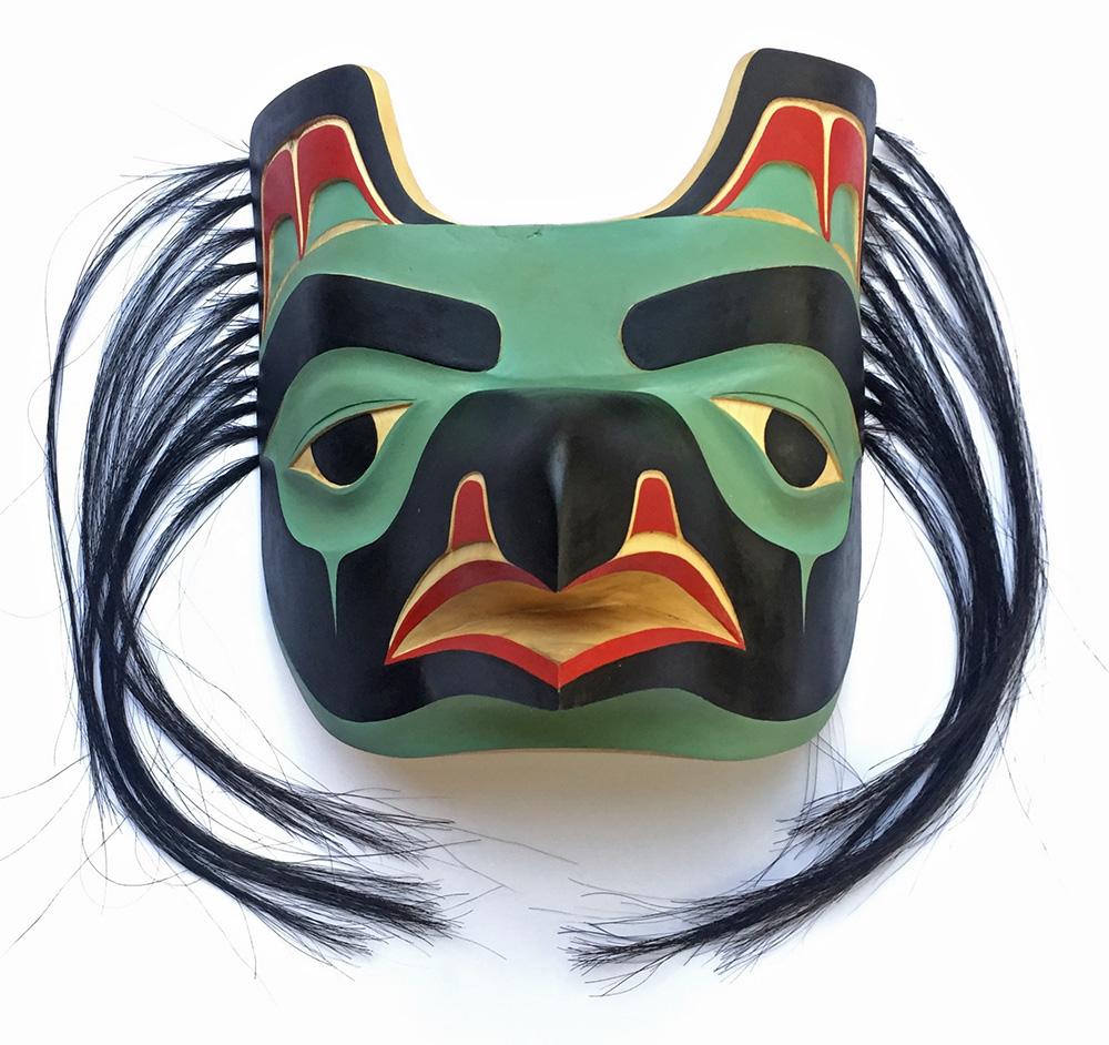 Raven Mask / Yellow Cedar, Horse Hair
