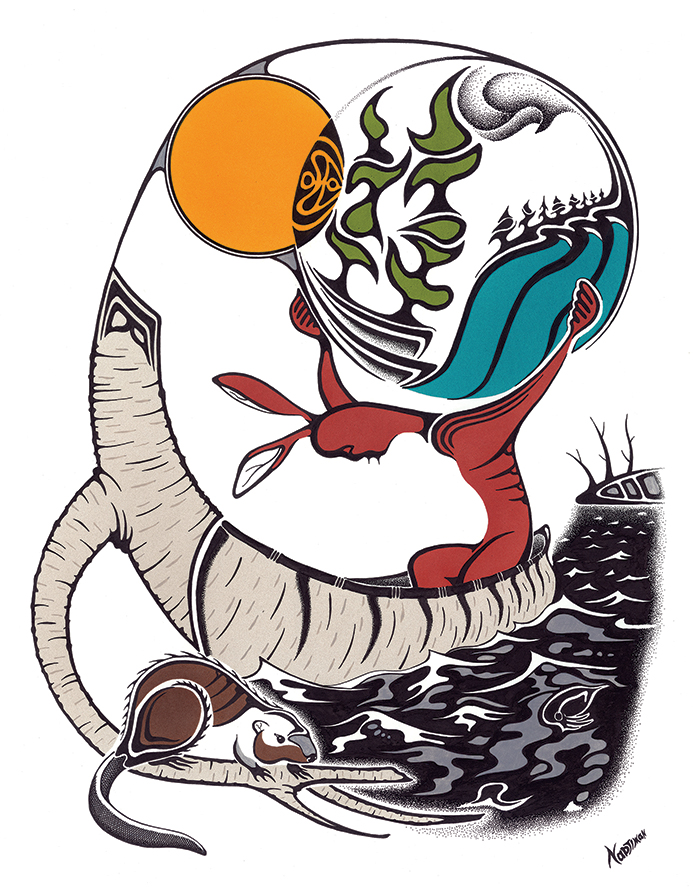 """""""New Myth for a New Earth"""" by Mark Nadjiwan, indigenous visual artist from John's home town of North Bay."""