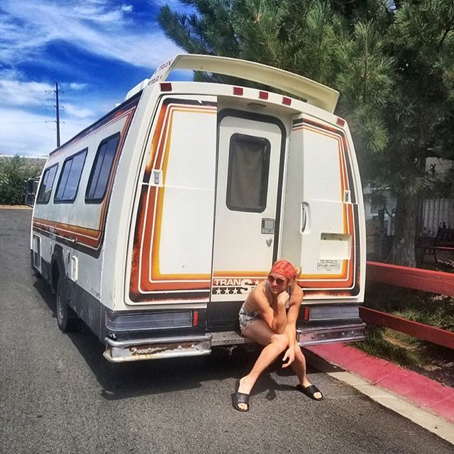 "1982 Ford Champion Transtar ""Trangelina Roli"" @sharon_rose_style & I purchased this beauty after Burning Man 2018 for $1500 after winning $1200 on a slot machine in Reno. #workinprogress #vanlife"