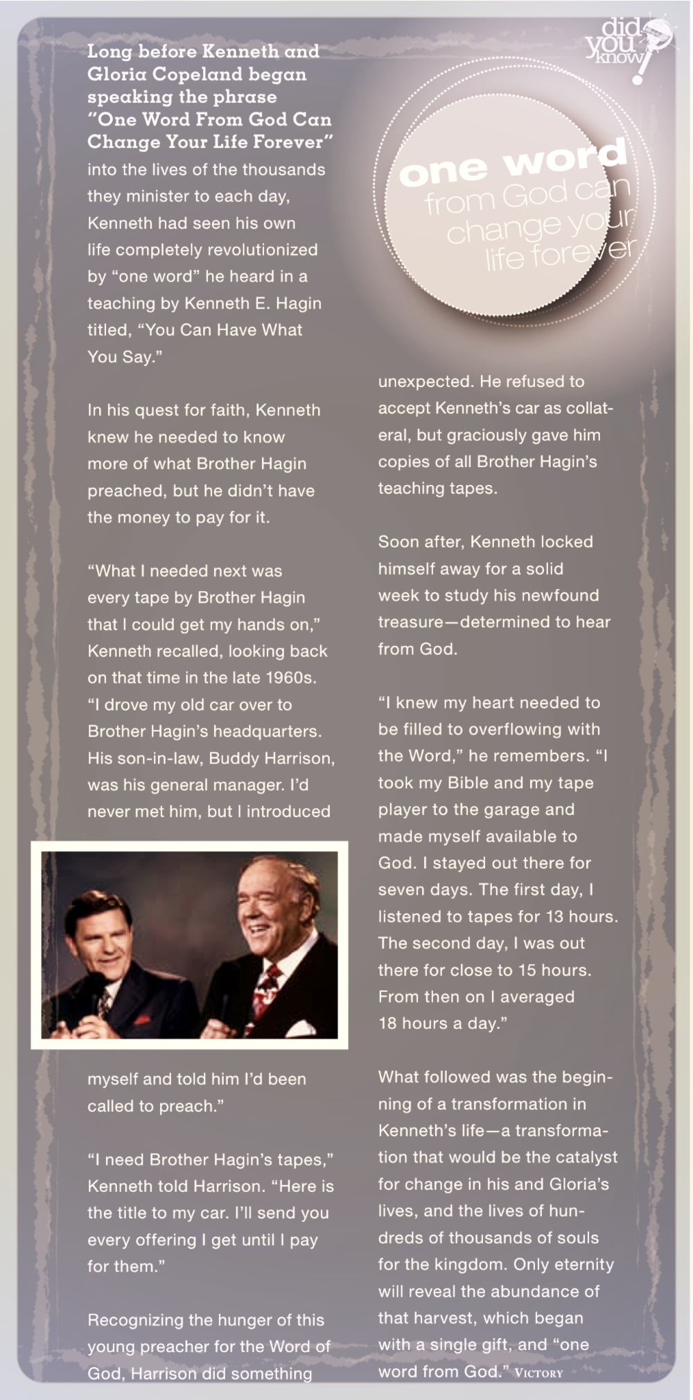 """This is from Kenneth Copeland's """"Voice of Victory"""" Magazine"""
