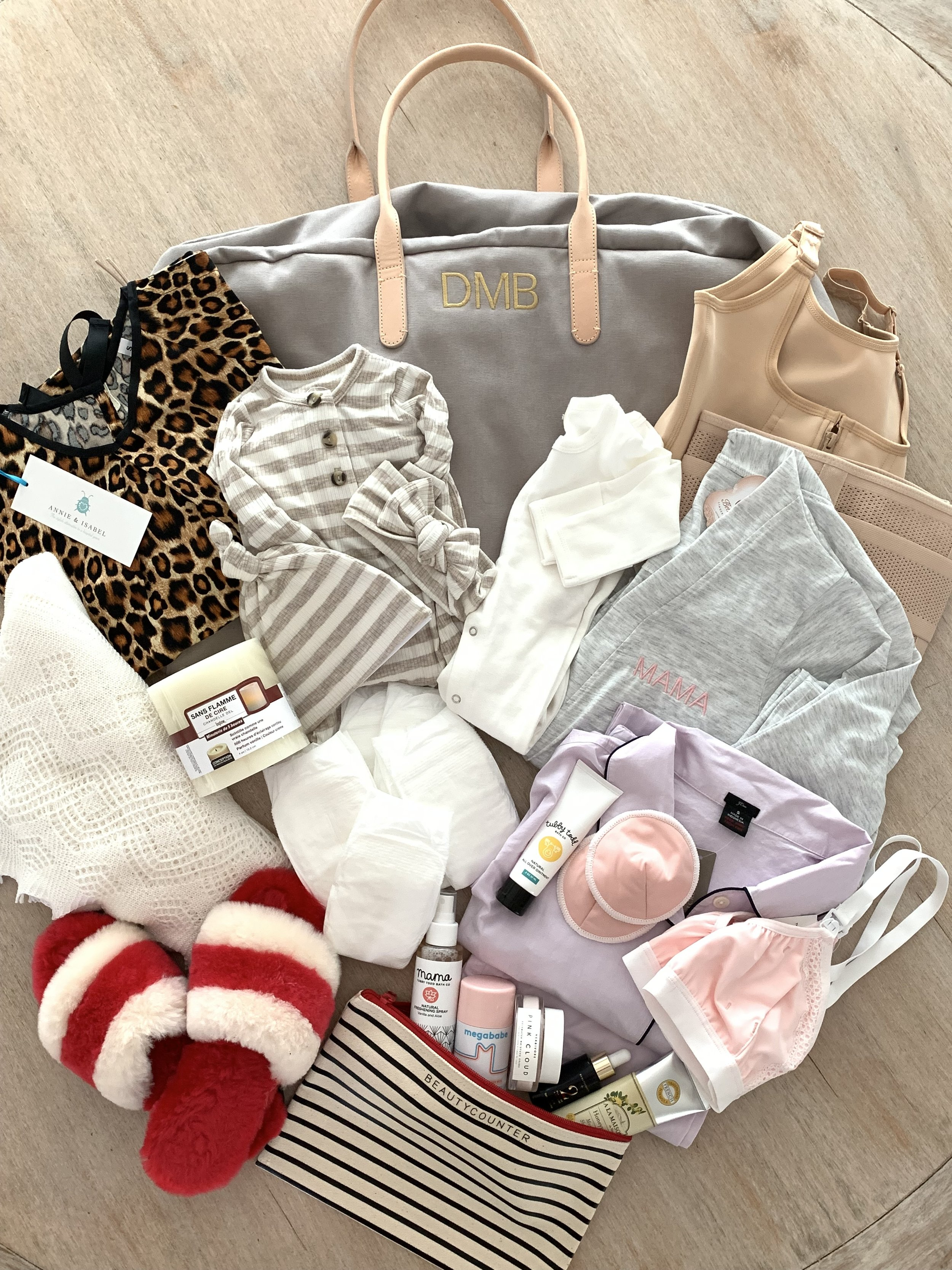 A prepped hospital bag for the arrival of the new family member. Includes a layout of clothes and products.