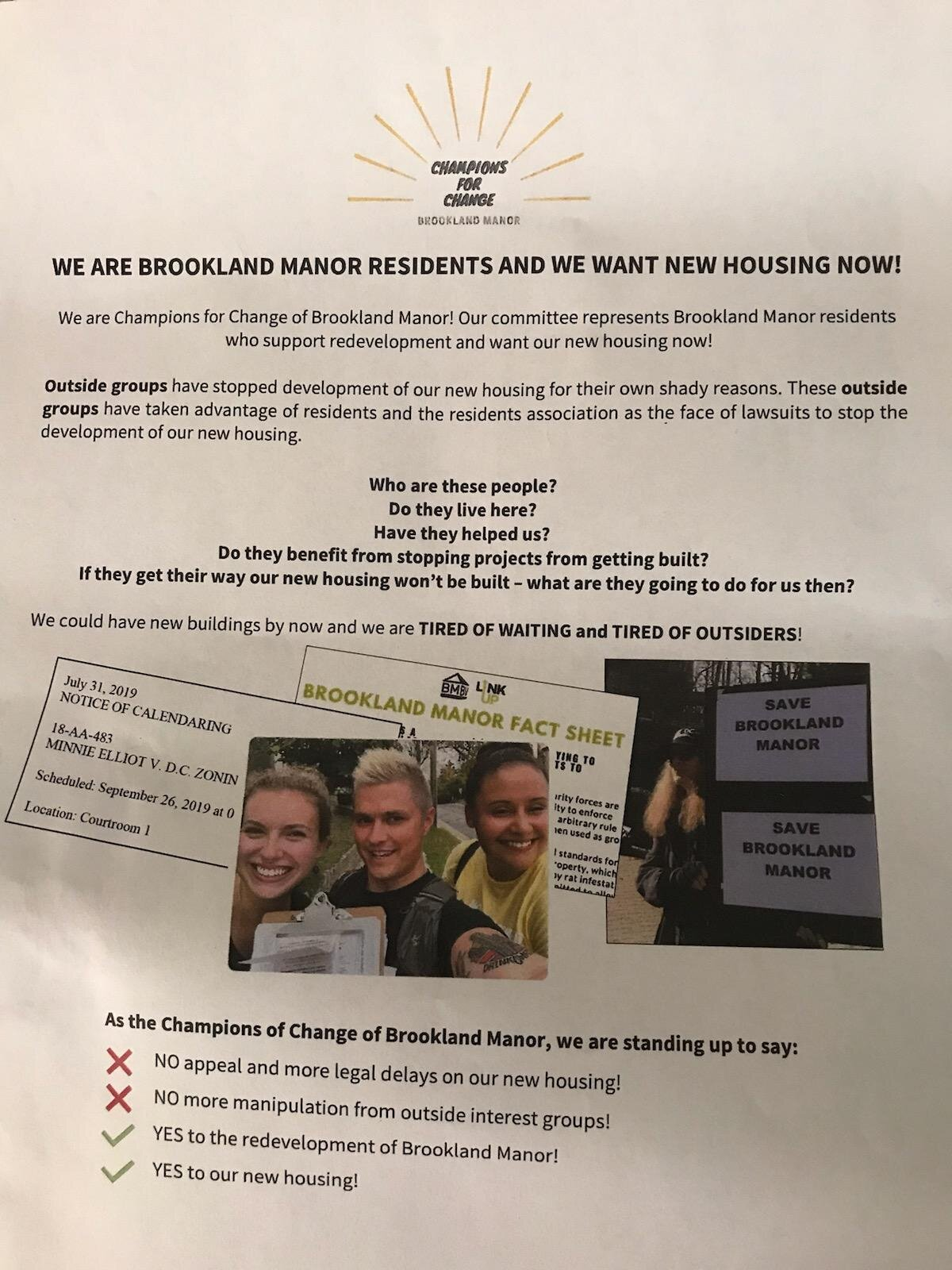 Volunteers supporting Brookland Manor Residents fighting family displacement were targeted in anonymous notices promoting Mid-City's agenda. Volunteers included a Ward 2 ANC Madeleine Stirling.