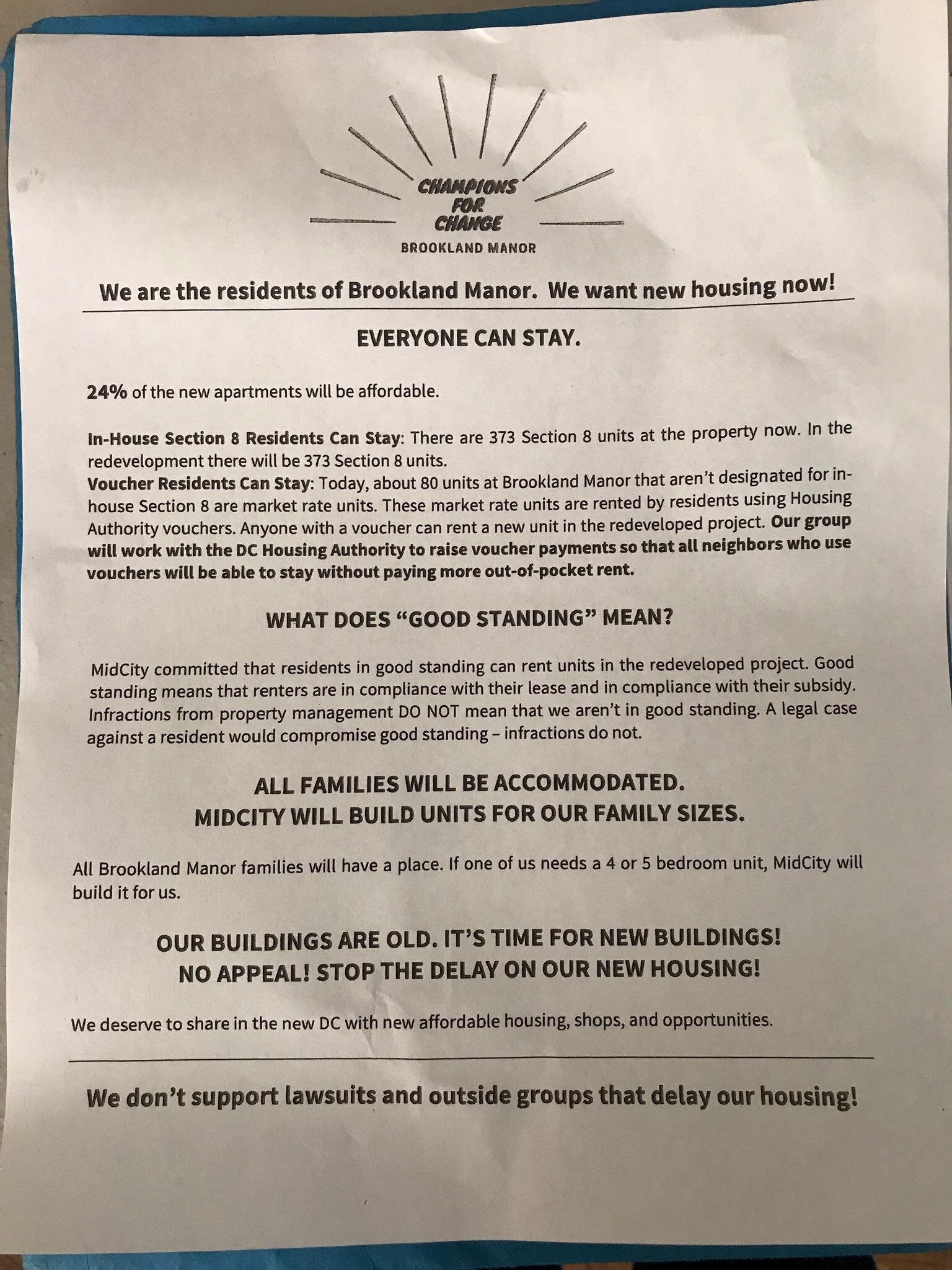Developer Mid-City Financial is reportedly involved in the posting of these anonymous notices, from an unknown group. The notices, sent out to all residents, include false and misleading information.