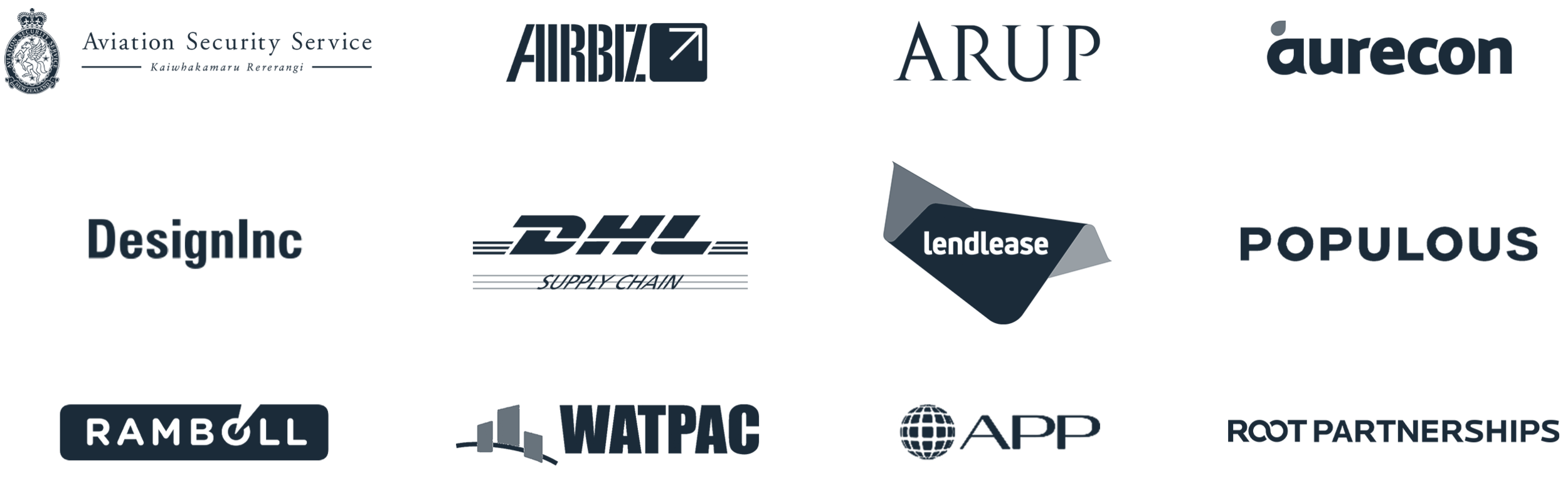 AvLogix Solutions Companies that we work with: Aviation Security Service New Zealand, Airbiz, ARUP, Aurecon, DesignInc, DHL Supply Chain, Lendlease, Populous, Ramboll, Watpac.