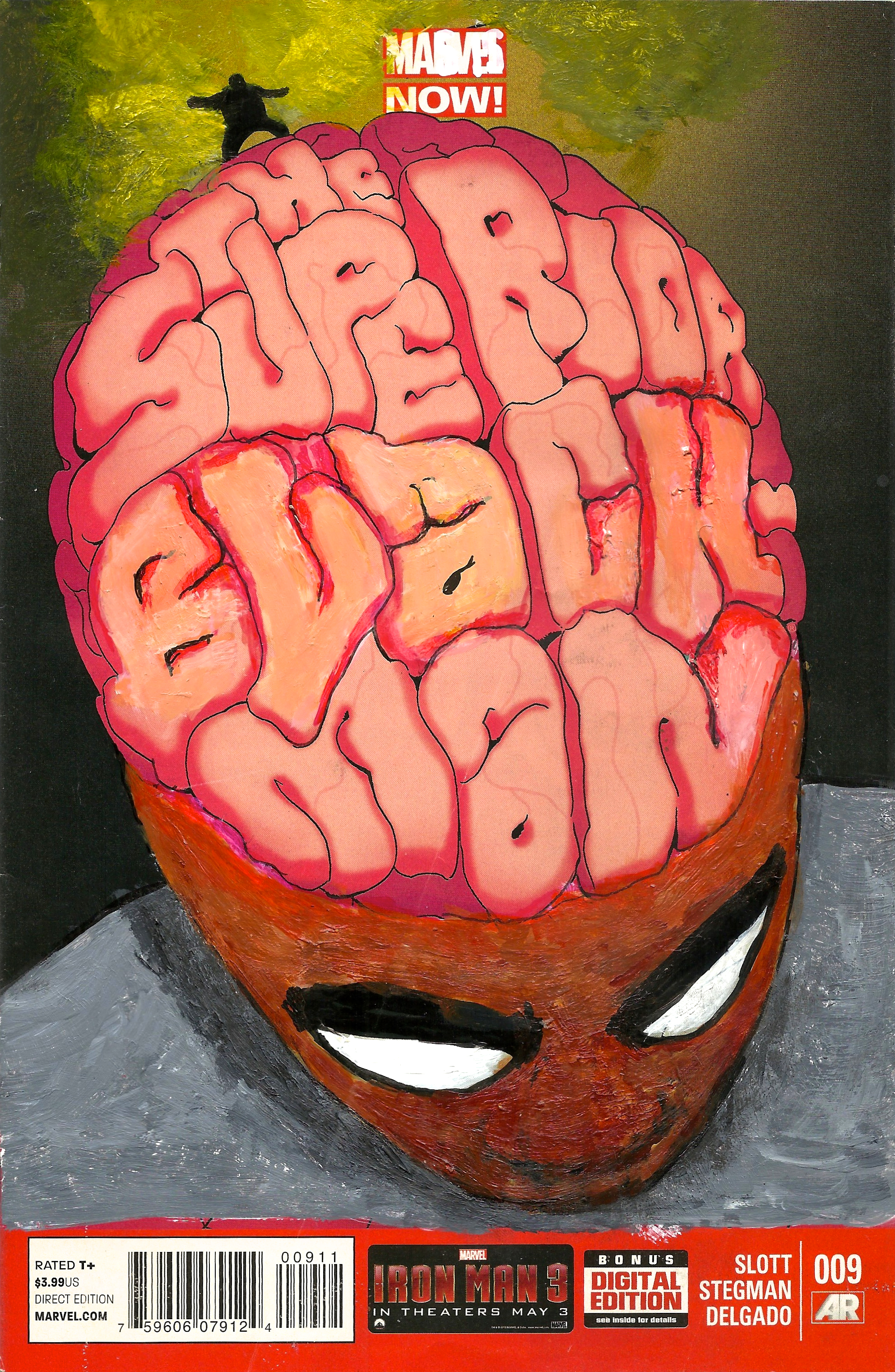 Kumasi J. Barnett Superior Black-Man #9 Acrylic, marker, pen and oil marker on comic book 9 3/4h x 6 1/4w inches KB-101