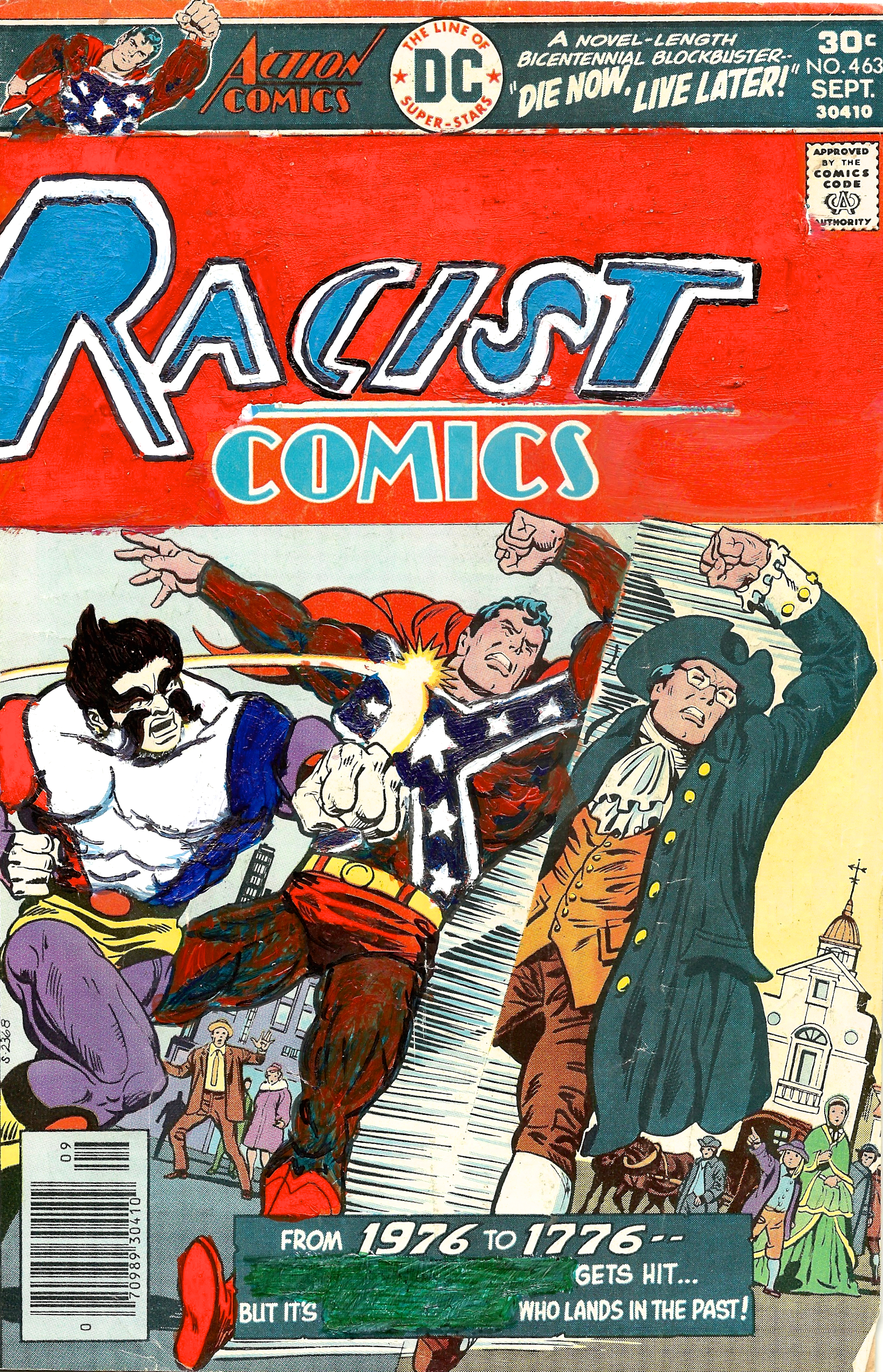 Kumasi J. Barnett  Racist Comics #463 From 1976 to 1776  2015 Acrylic, marker, pen and oil marker on comic book 9 3/4h x 6 1/4w inches KB-133