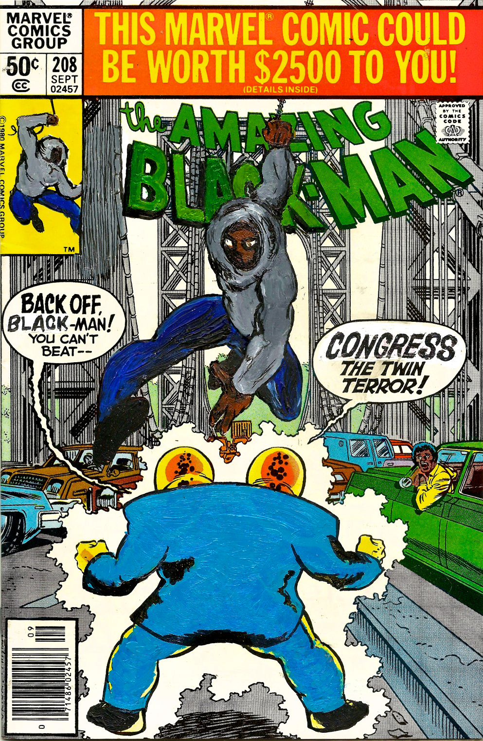 Kumasi J. Barnett  The Amazing Black-Man #208 Congress the Twin Terror  2016 Acrylic, marker, pen and oil marker on comic book 9 3/4h x 6 1/4w inches KB-032
