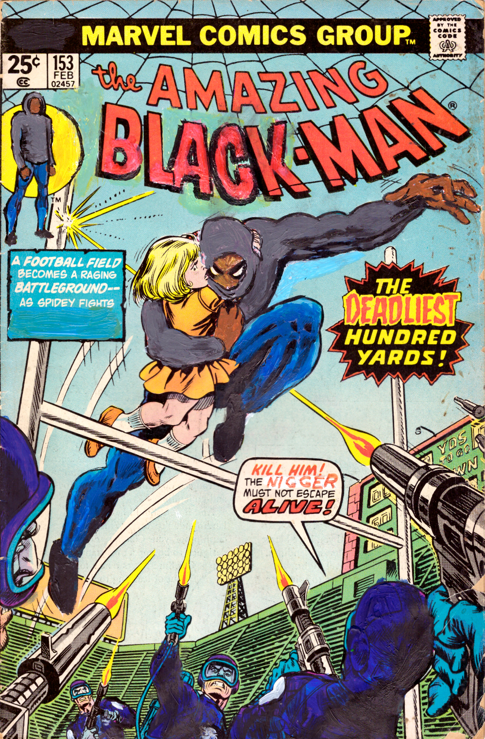 Kumasi J. Barnett  The Amazing Black-Man #153 The Deadliest Hundred Yards   2018 Acrylic, marker, pen and oil marker on comic book 9 3/4h x 6 1/4w inches KB-004