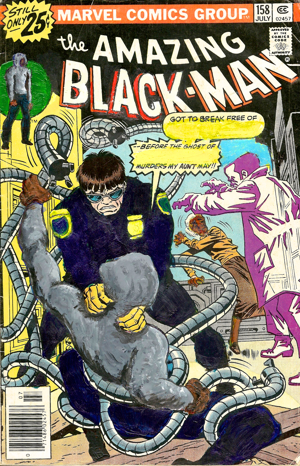 Kumasi J. Barnett  The Amazing Black-Man #158 Got to break free of This Cop—  2015 Acrylic, marker, pen and oil marker on comic book 9 3/4h x 6 1/4w inches KB-016
