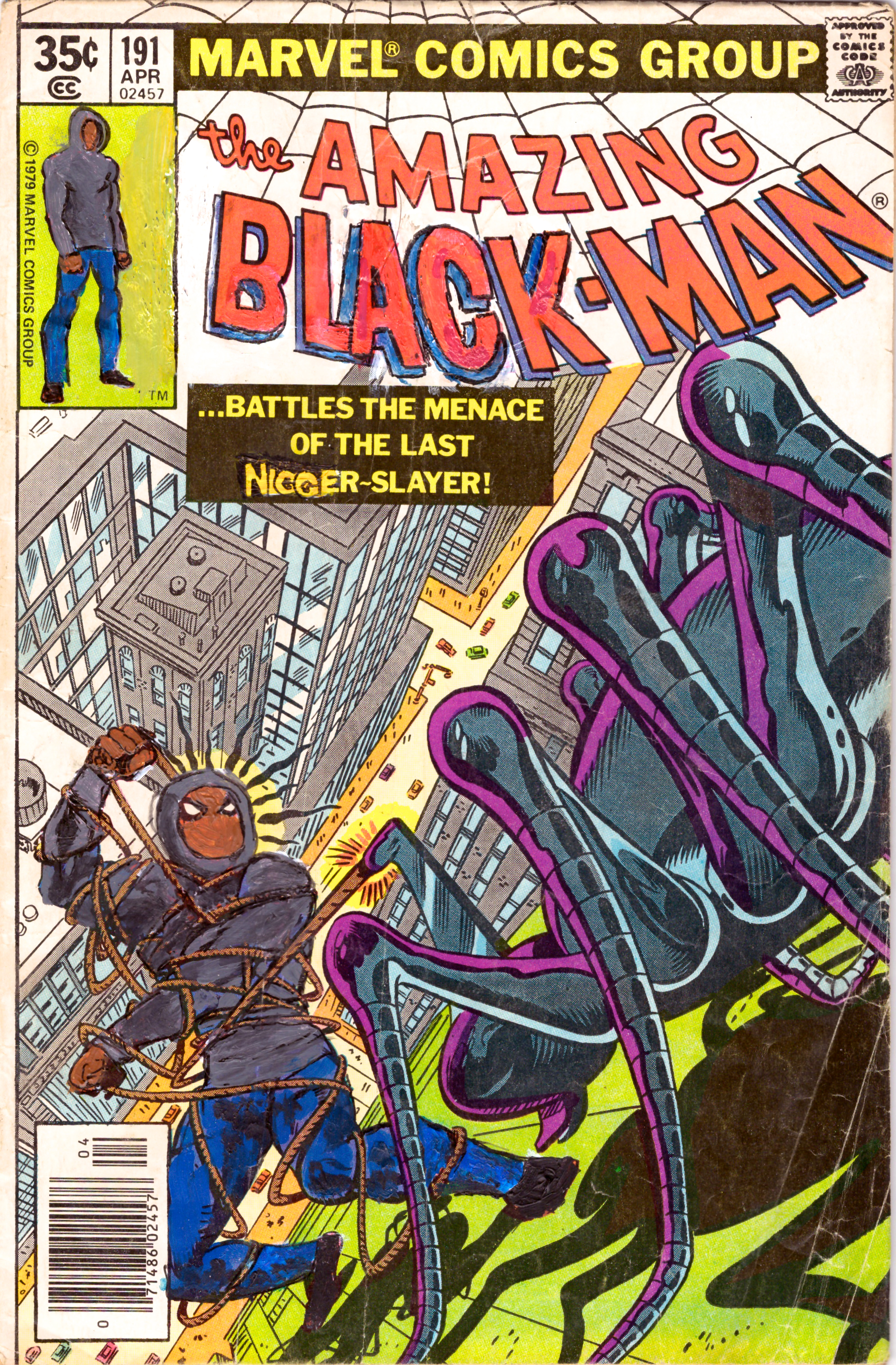 Kumasi J. Barnett  The Amazing Black-Man #191  2019 Acrylic, marker, pen and oil marker on comic book 9 3/4h x 6 1/4w inches KB-079