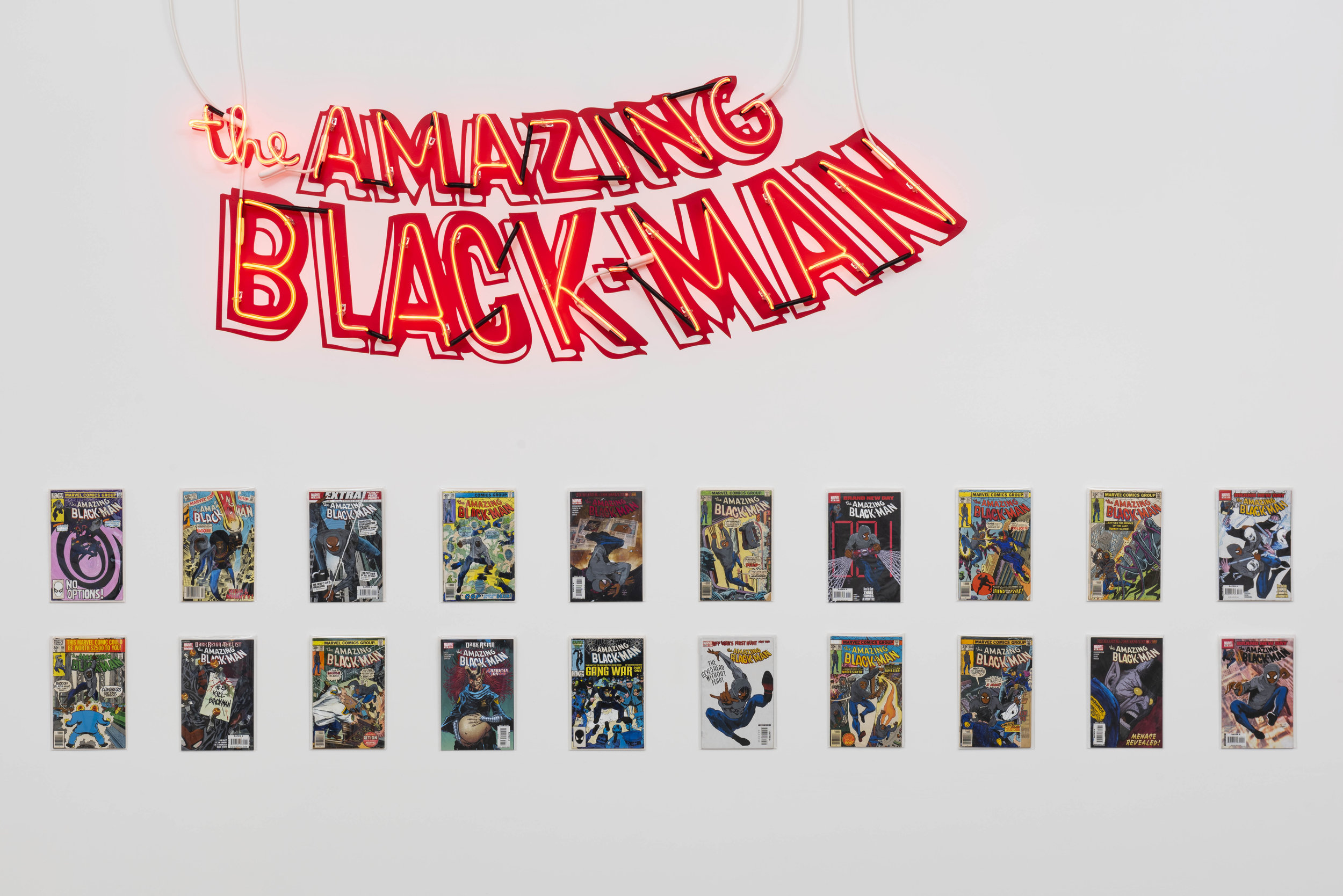 installation view: Kumasi J. Barnett, The Amazing Black-Man
