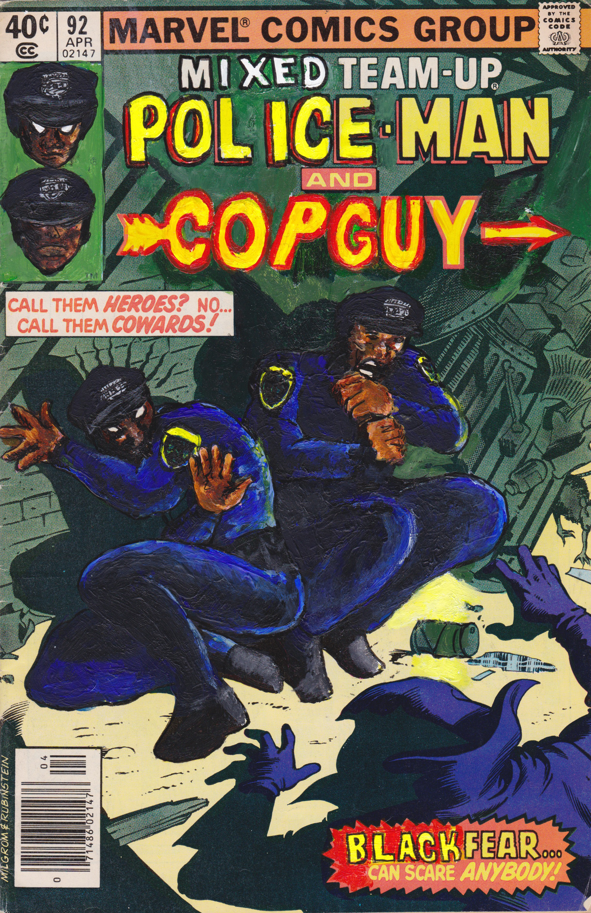 Kumasi J. Barnett  Mixed Team-up #92 Police-Man & Copguy  2016 Acrylic, marker, pen and oil marker on comic book 9 3/4h x 6 1/4w inches
