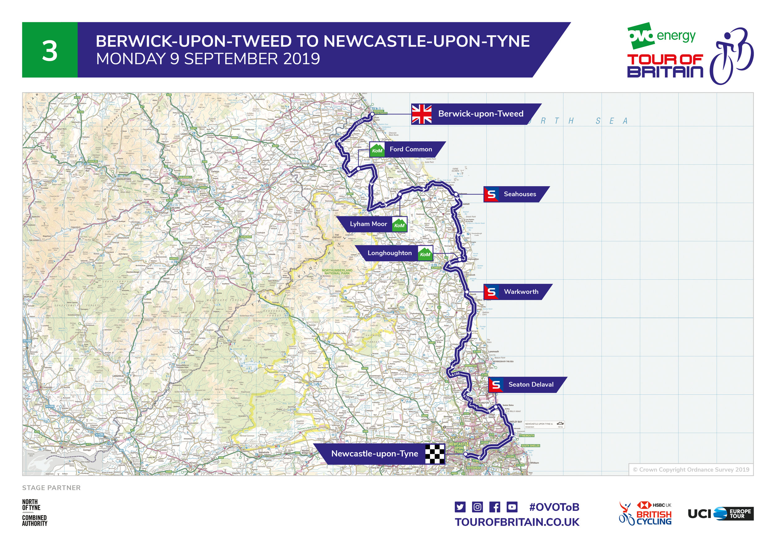 - Stage Three will see some of the world's top riders and teams contesting a 182-kilometre (114-mile) route from Berwick-upon-Tweed, heading along the North Tyneside coast and into Wallsend, before continuing to Newcastle Upon Tyne city centre, with a spectacular finish on Grey Street.
