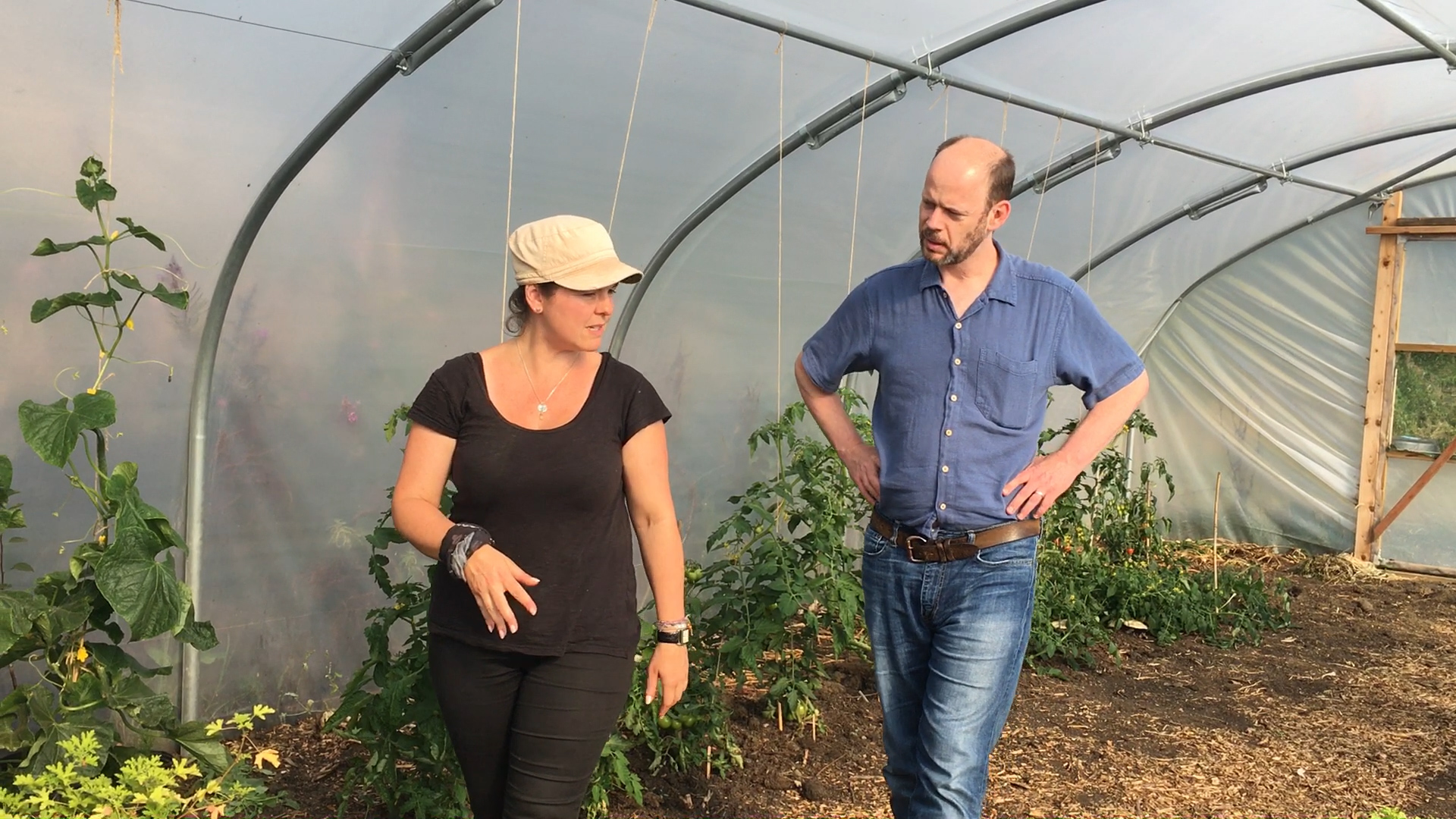 North of Tyne Mayor Jamie Driscoll and Jane Pryde in one of the Higher Ground Allendale polytunnels