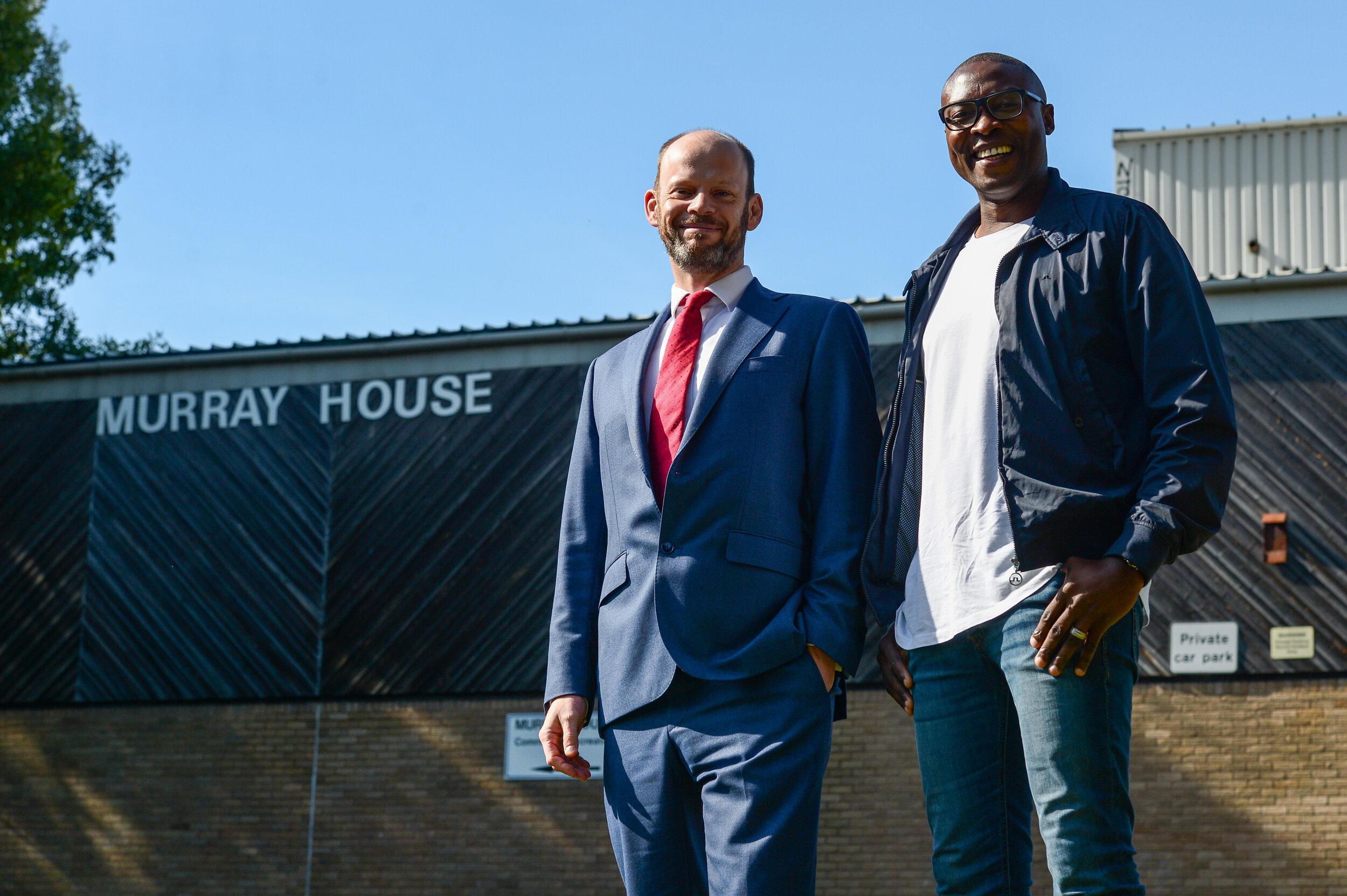 #NorthofTyne - Mayor Jamie Driscoll and NUFC Foundation patron Shola Ameobi at Murray House