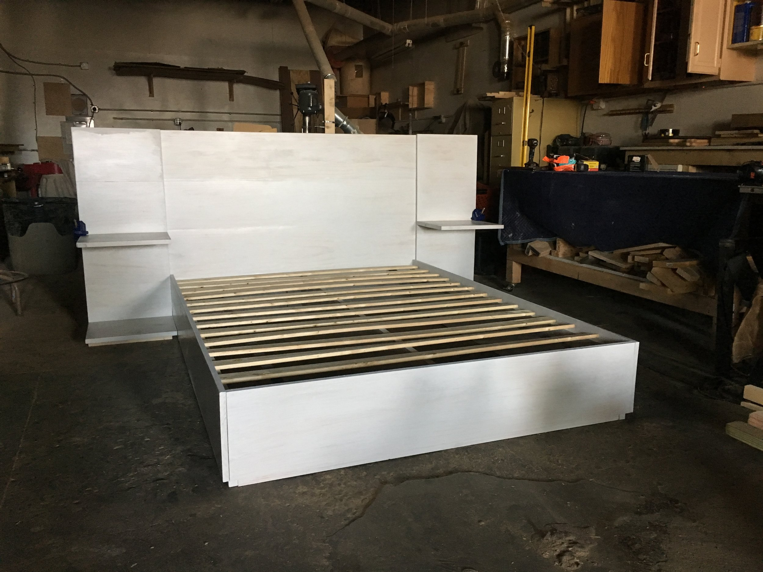 - platform bed w floating nightstands w headboard