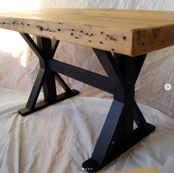 - reclaimed joist farmhouse table