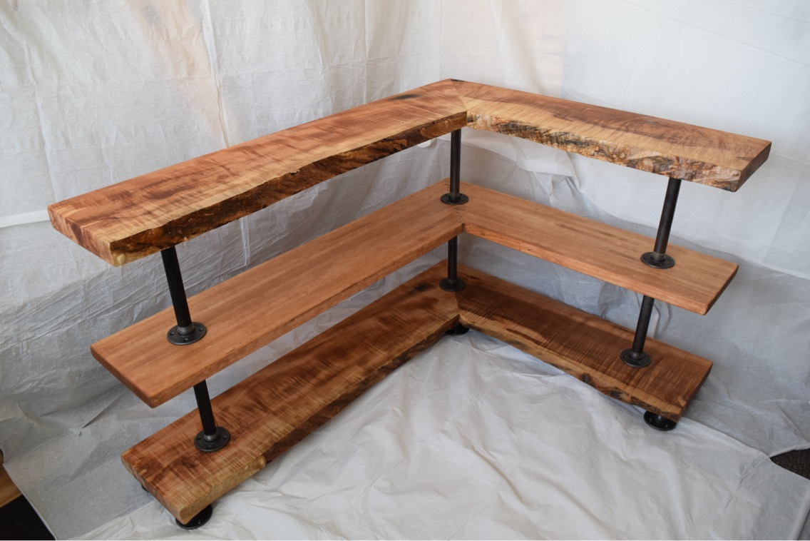 I have purchased three pieces of art from Mr. Mcgivney: end tables, shelves, and a kitchen table. I have never been as satisfied by the products and the service of a company. 14/10. Would vigorously recommend. -Pat r. -