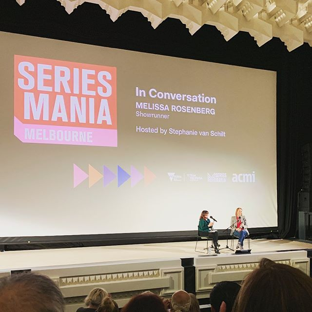Incredible talk from Melissa Rosenberg, Showrunner of the brilliant Jessica Jones the other week as part of Series Mania Melbourne presented by ACMI. The beautifully renovated Capitol Theatre was the perfect setting for a very stimulating conversation, and thankfully Stephanie van Schilt a well matched interviewer. Great advice - no matter how many failures just keep going. She's not on instagram (she wrote Twilight, so if you search for her you are going to get a tonne of RPatz pics) but head over to twitter and find her at https://twitter.com/tallgirlmel and you can find fabulous Stephanie at @stephvanschilt . . . . . #seriesmania #acmi #melbourne #melissarosenberg #capitoltheatre #femaleleaders #bosslady #tryagainfailagain #tallgirlmel #femaleshowrunners #femalewriters #melbournetalks #showrunner #womenintv #femalefilmmakers #tvshowrunners