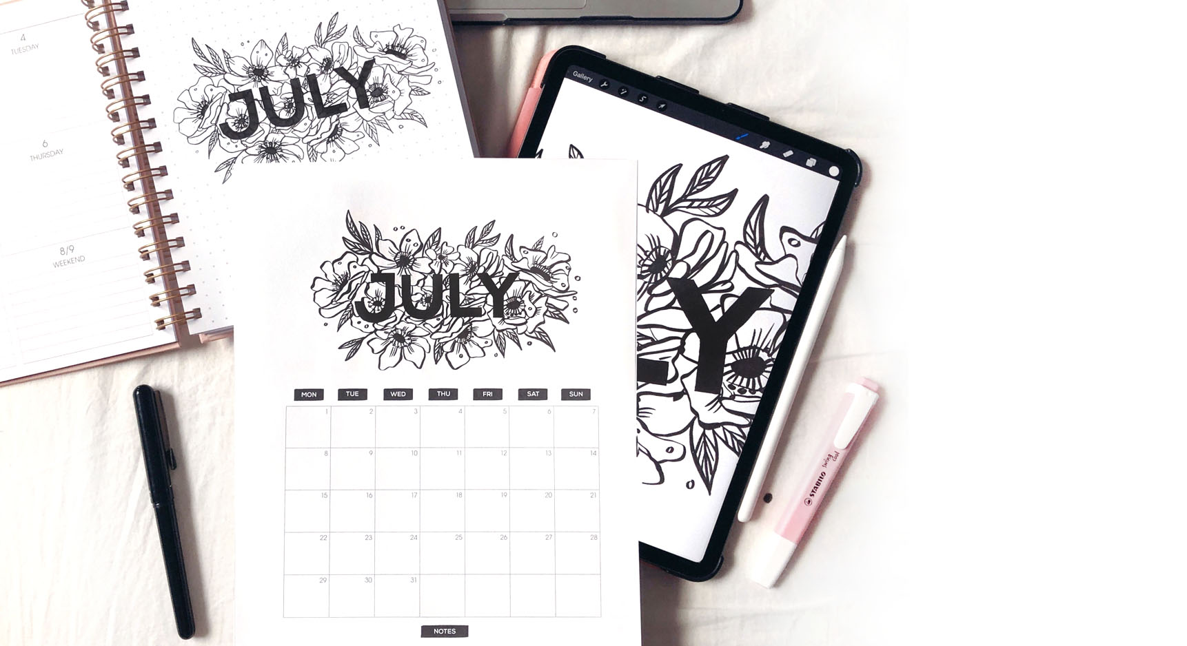 Free Calendar - Be even more organized! Download a floral illustrated calendar.