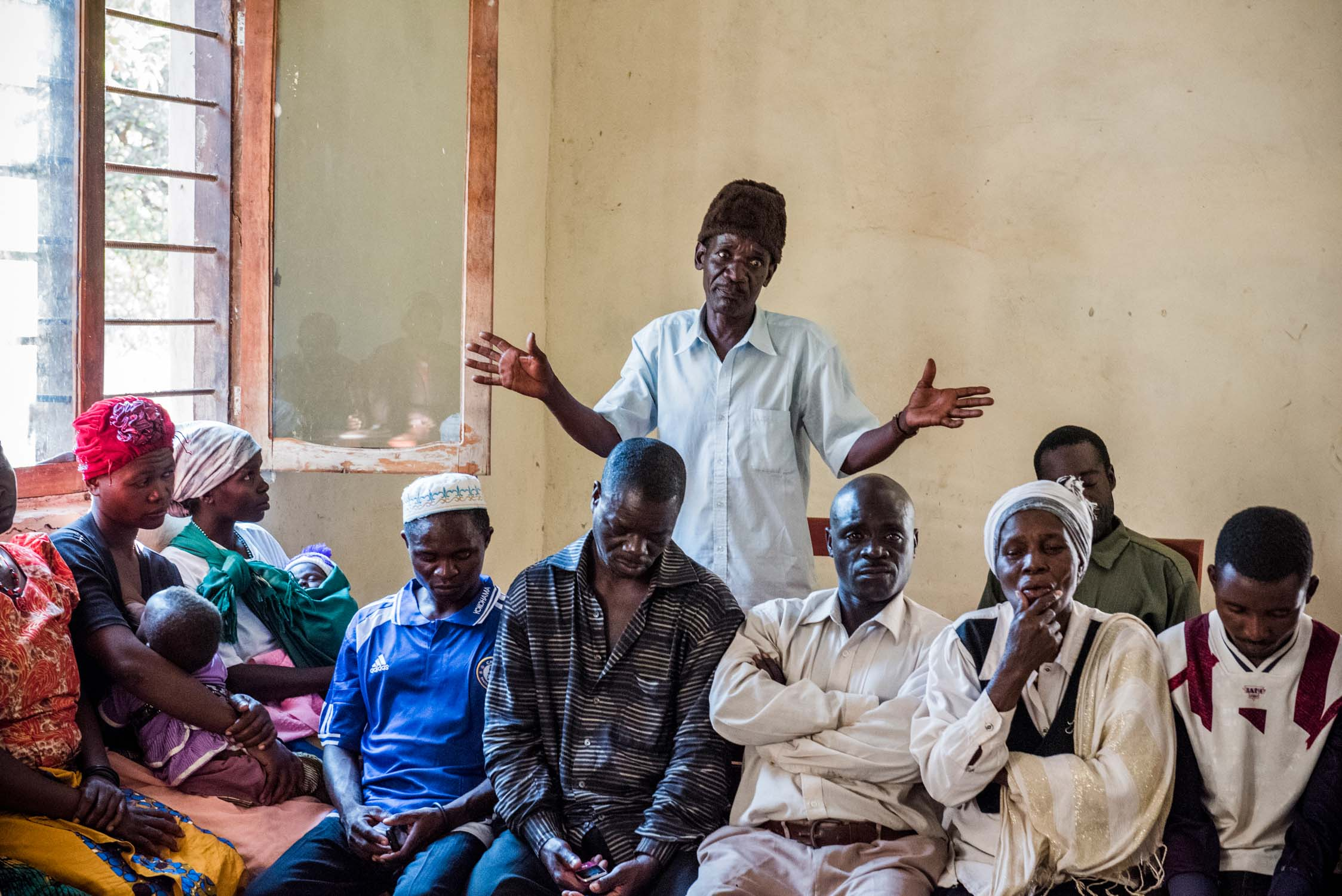 People of Likuyu Village gather with Village Game Scouts and environmentalists, discussing the problems of human-wildlife conflicts in that area.